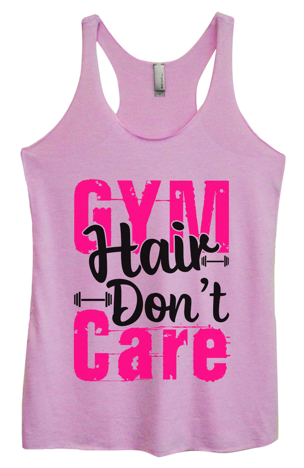 Womens Fashion Triblend Tank Top - Gym Hair Don't Care - Tri-1422 - Funny Shirts Tank Tops Burnouts and Triblends  - 3