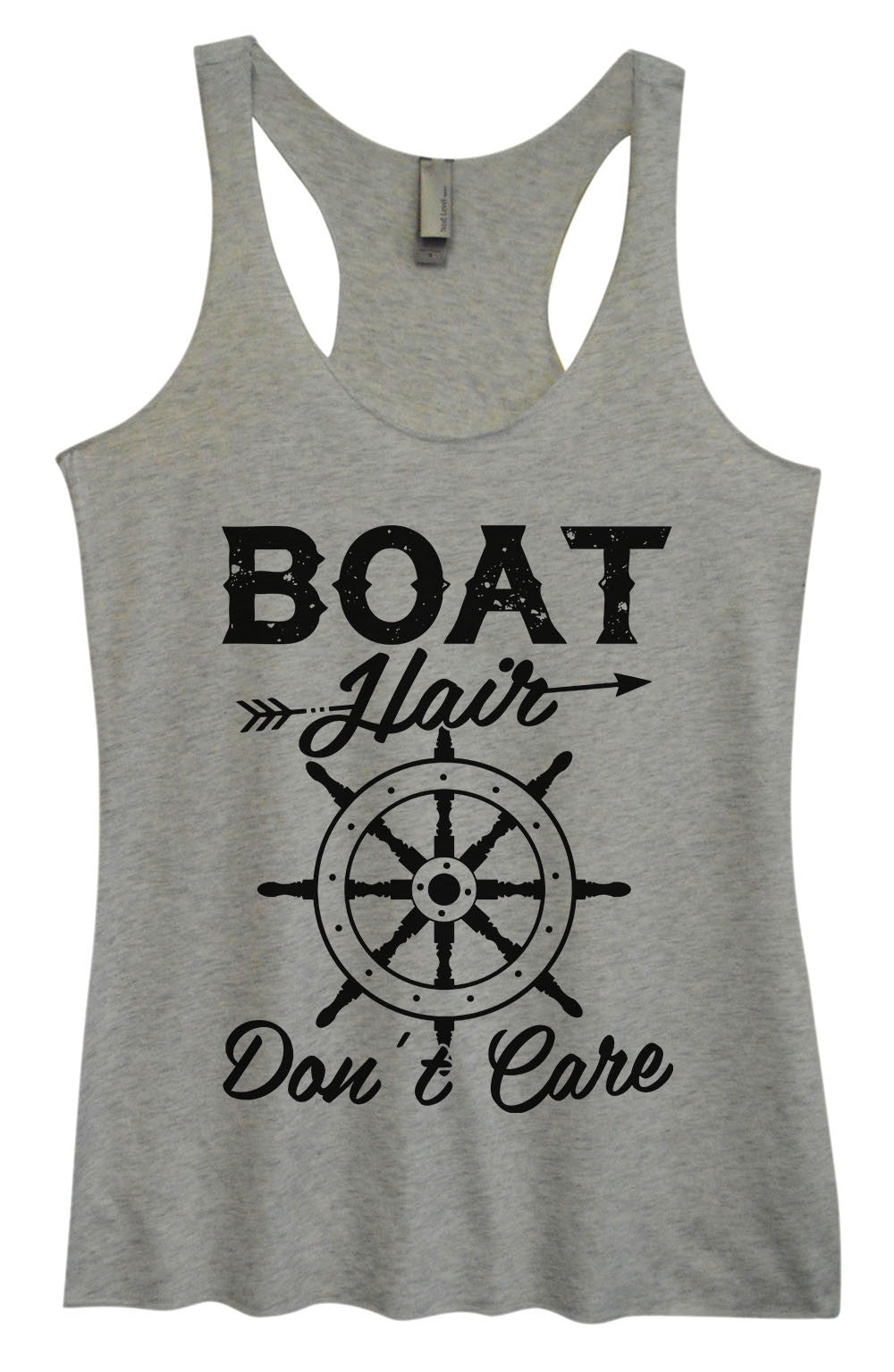 Womens Fashion Triblend Tank Top - Boat Hair Don't Care - Tri-1441 - Funny Shirts Tank Tops Burnouts and Triblends  - 2