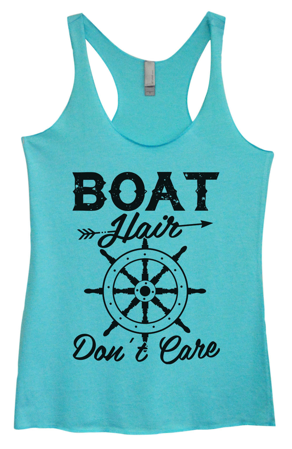 Womens Fashion Triblend Tank Top - Boat Hair Don't Care - Tri-1441 - Funny Shirts Tank Tops Burnouts and Triblends  - 4