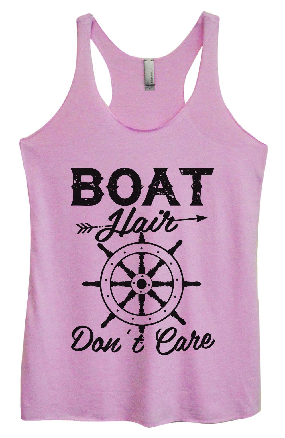 Womens Fashion Triblend Tank Top - Boat Hair Don't Care - Tri-1441 - Funny Shirts Tank Tops Burnouts and Triblends  - 3