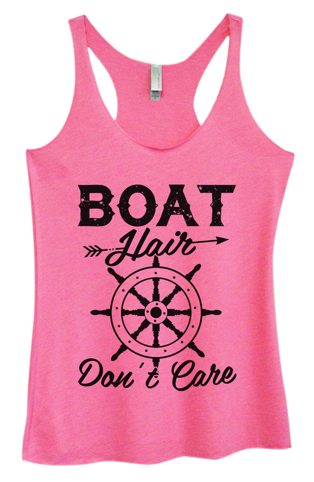 Womens Fashion Triblend Tank Top - Boat Hair Don't Care - Tri-1441 - Funny Shirts Tank Tops Burnouts and Triblends  - 1
