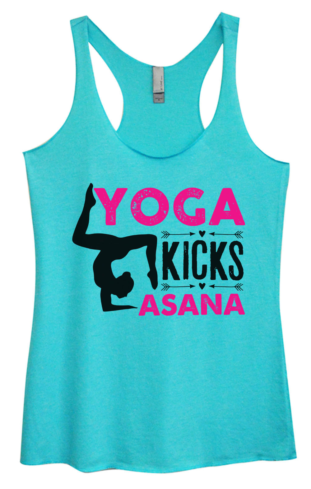 Womens Fashion Triblend Tank Top - Yoga Kicks Asana - Tri-1448 - Funny Shirts Tank Tops Burnouts and Triblends  - 2