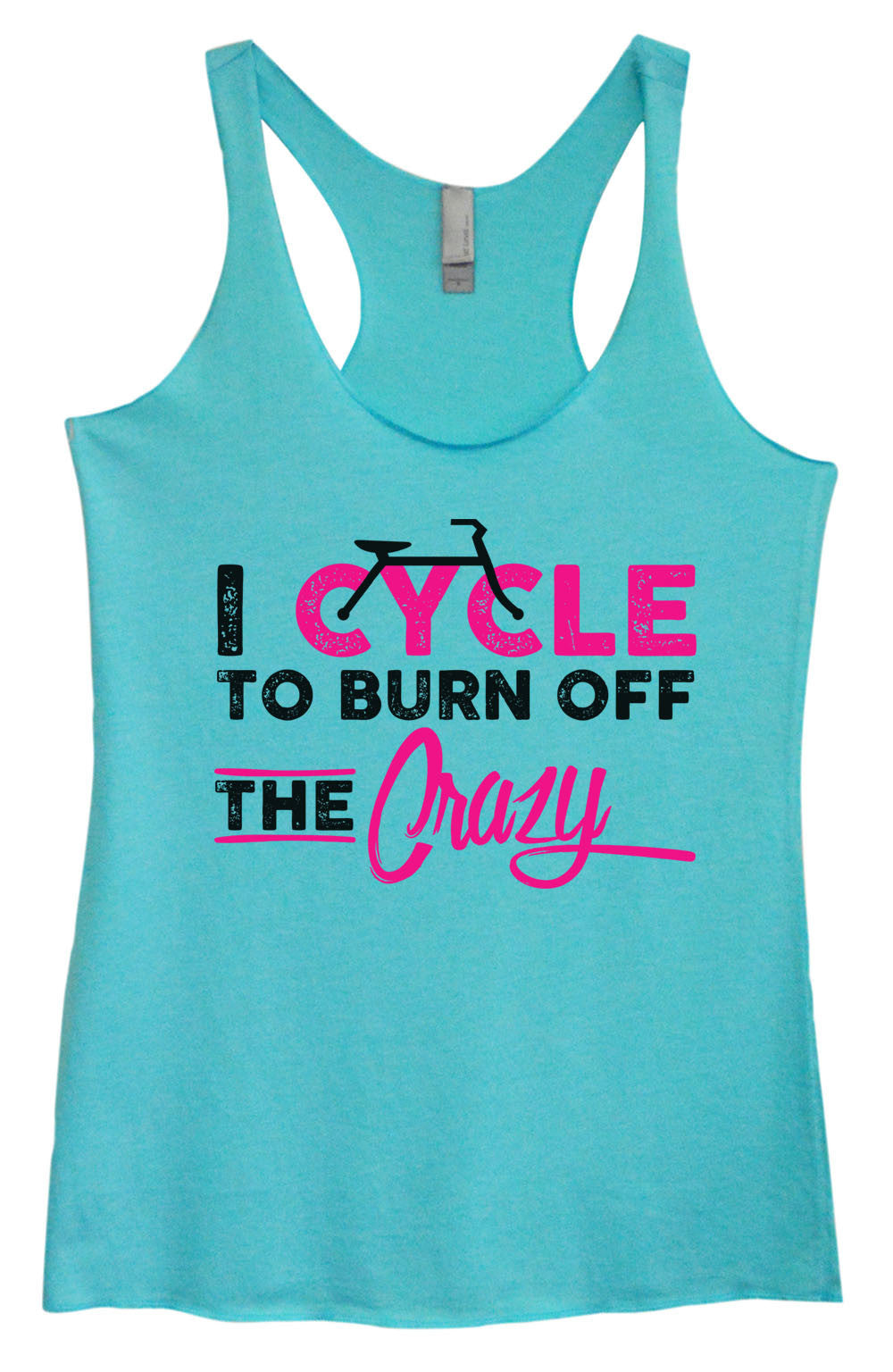 Womens Fashion Triblend Tank Top - I Cycle To Burn Off The Crazy - Tri-1463 - Funny Shirts Tank Tops Burnouts and Triblends  - 3
