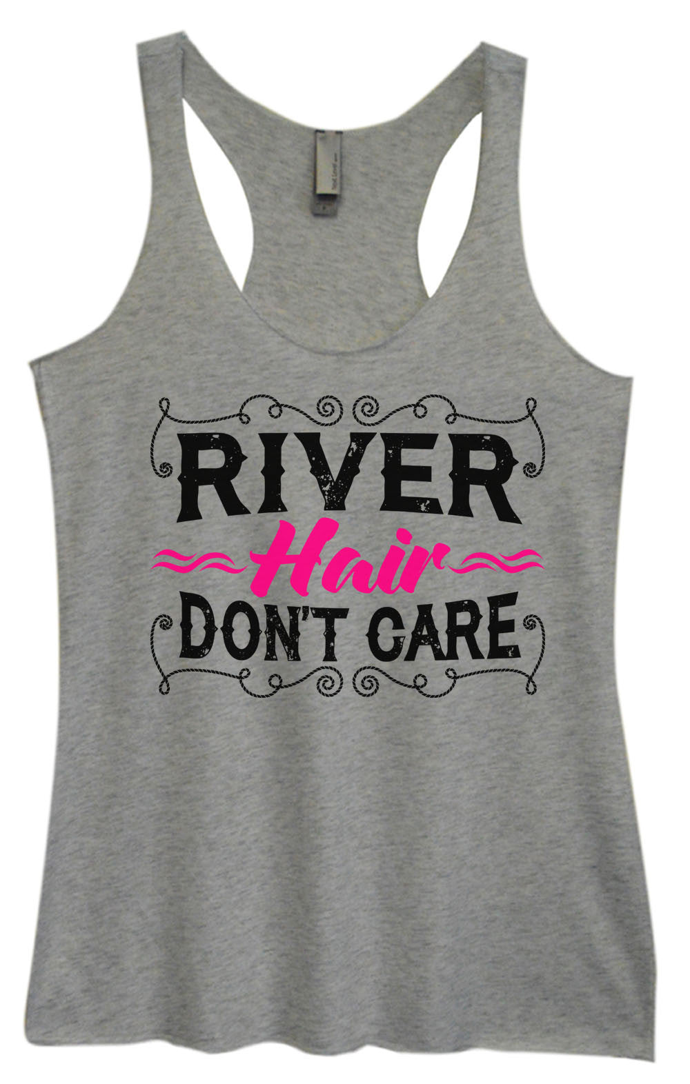 Womens Fashion Triblend Tank Top - River Hair Don't Care - Tri-1465 - Funny Shirts Tank Tops Burnouts and Triblends  - 2