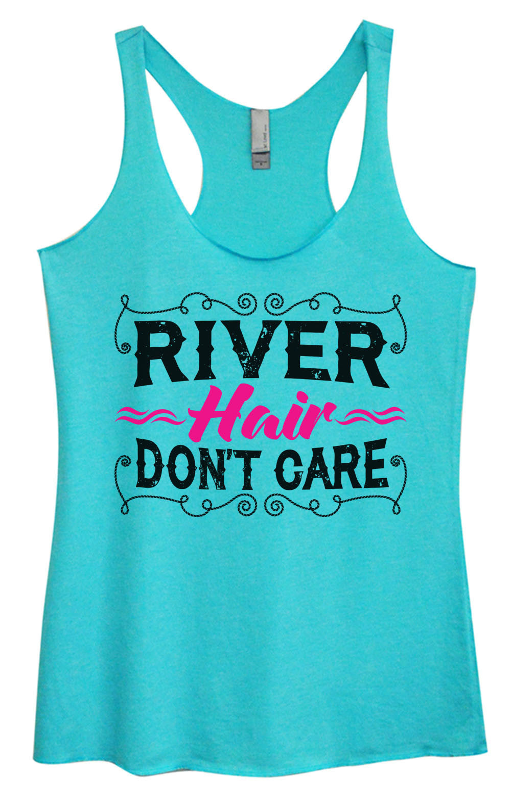 Womens Fashion Triblend Tank Top - River Hair Don't Care - Tri-1465 - Funny Shirts Tank Tops Burnouts and Triblends  - 4