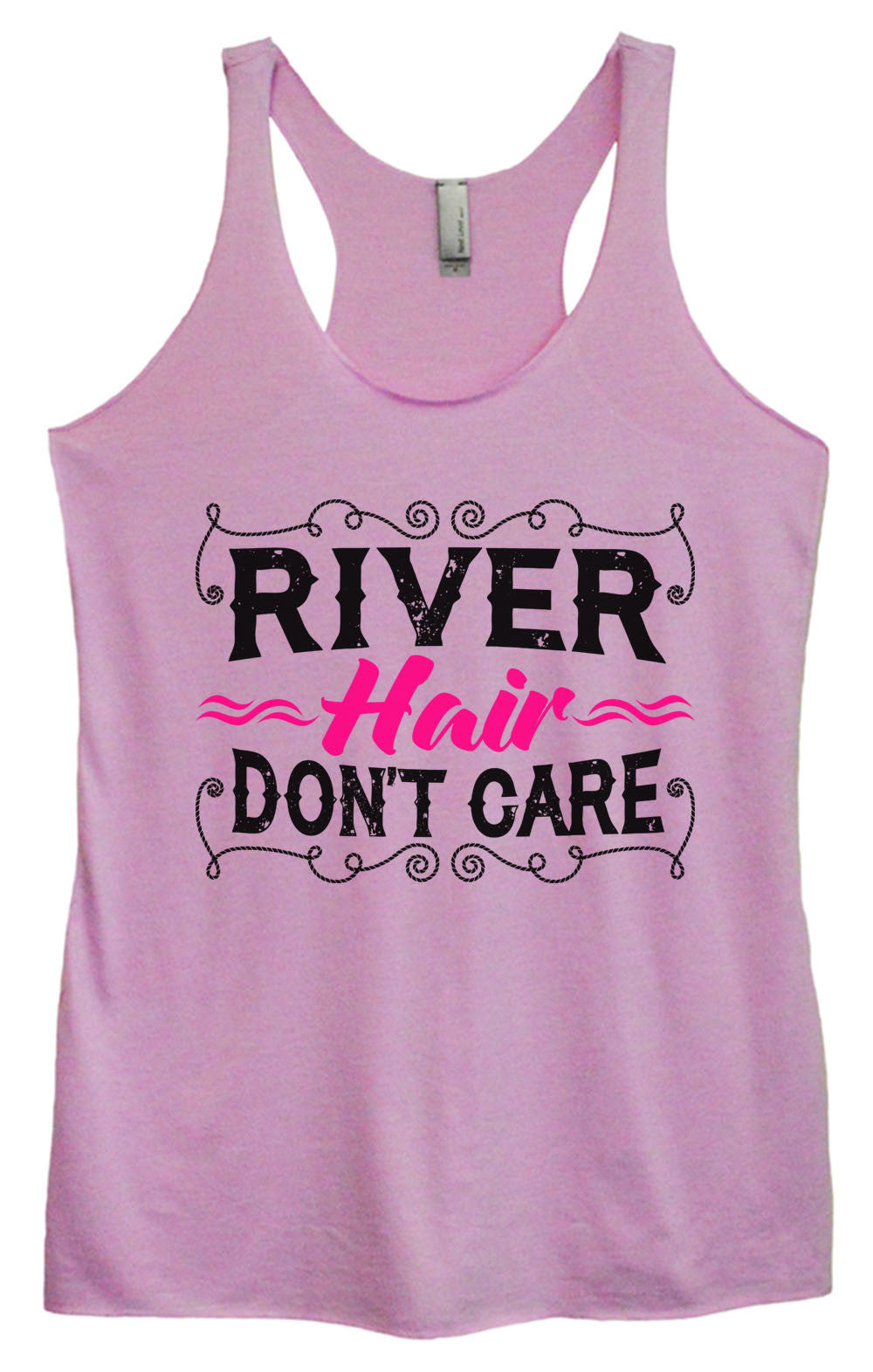Womens Fashion Triblend Tank Top - River Hair Don't Care - Tri-1465 - Funny Shirts Tank Tops Burnouts and Triblends  - 3
