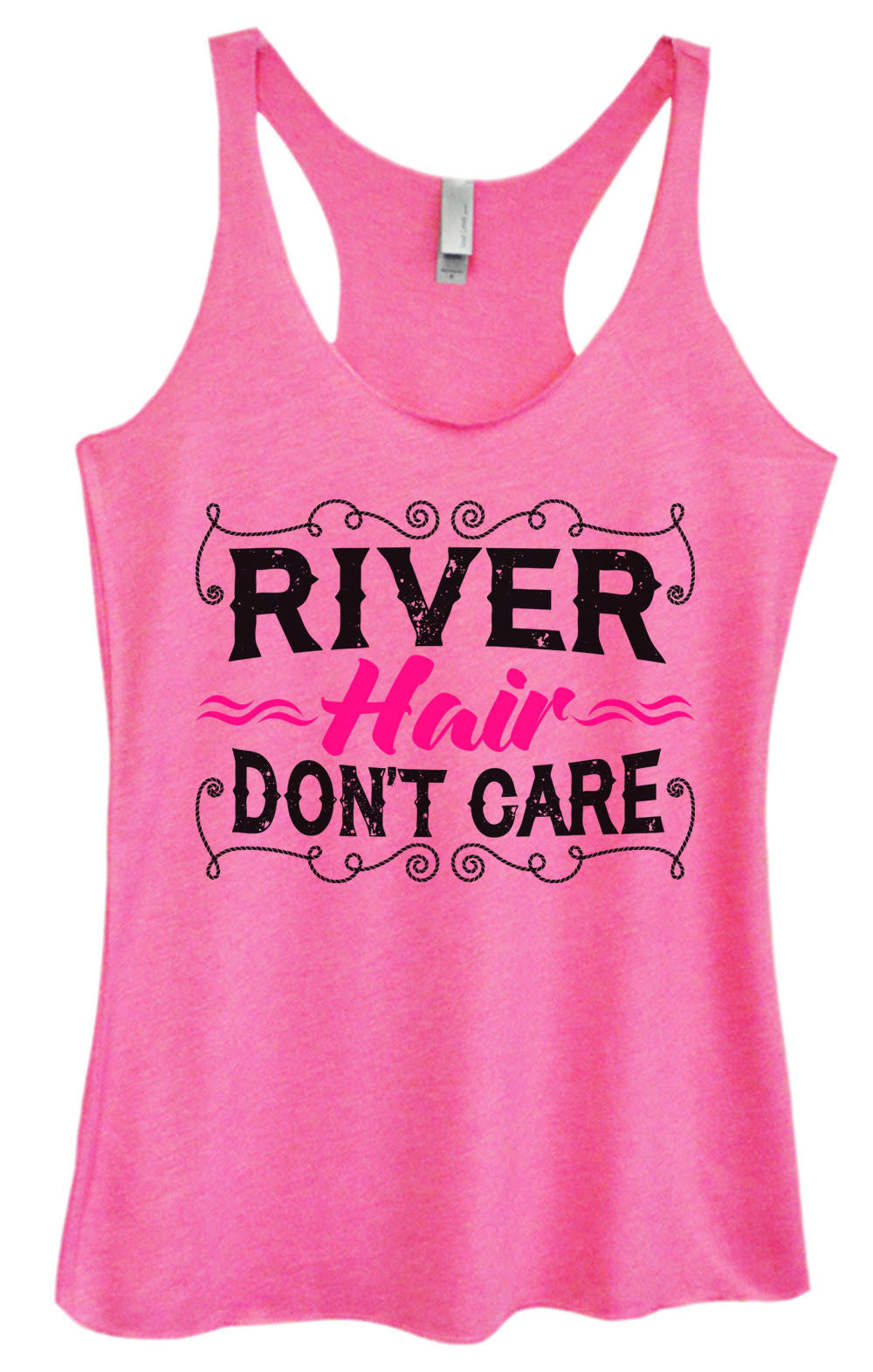 Womens Fashion Triblend Tank Top - River Hair Don't Care - Tri-1465 - Funny Shirts Tank Tops Burnouts and Triblends  - 1