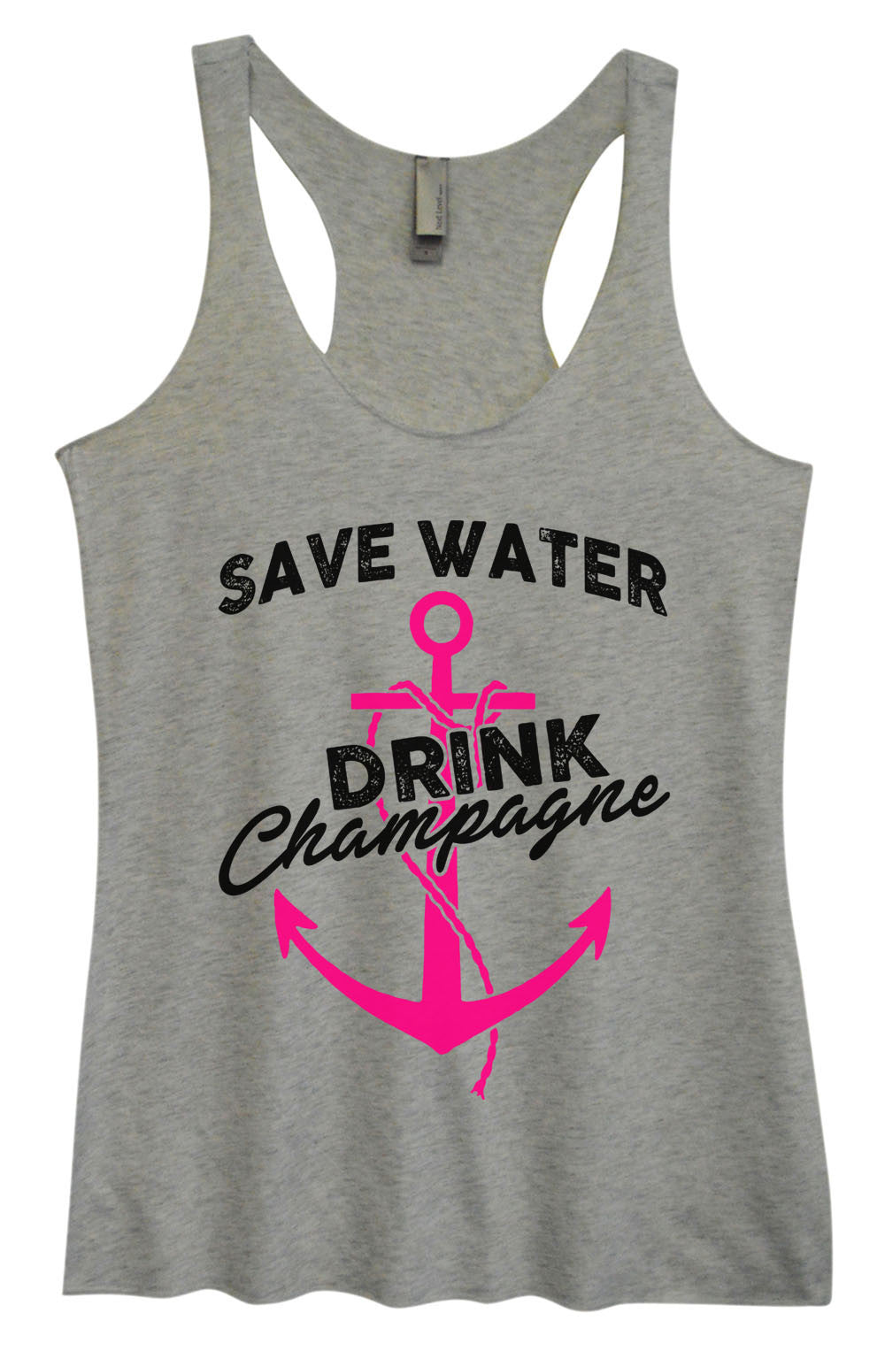 Womens Fashion Triblend Tank Top - Save Water Drink Champagne - Tri-1466 - Funny Shirts Tank Tops Burnouts and Triblends  - 2