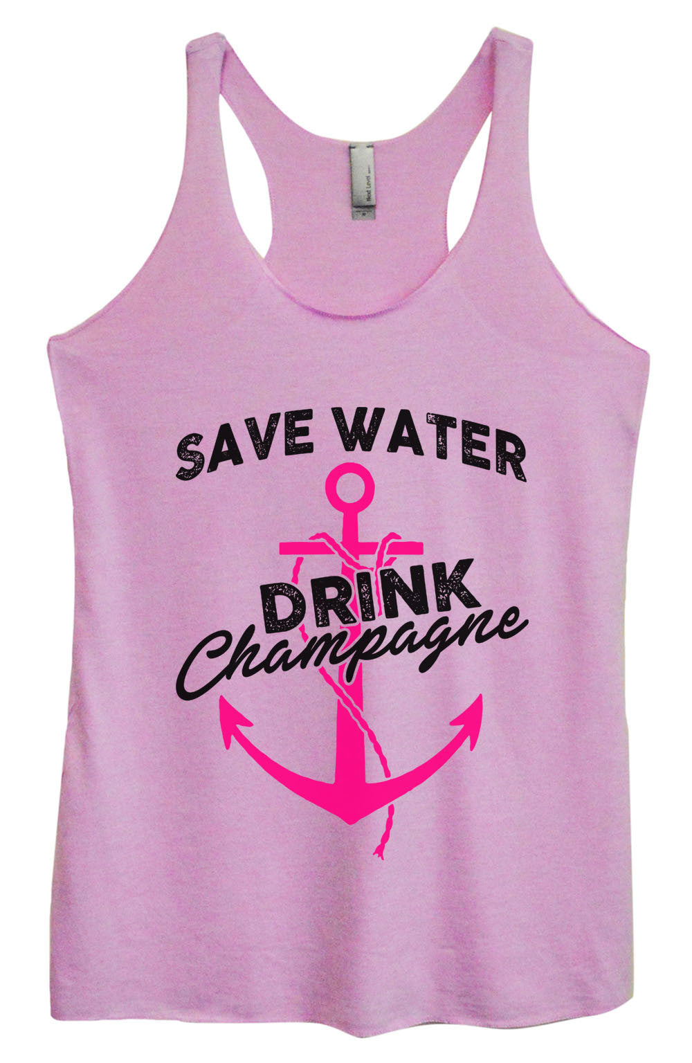 Womens Fashion Triblend Tank Top - Save Water Drink Champagne - Tri-1466 - Funny Shirts Tank Tops Burnouts and Triblends  - 4