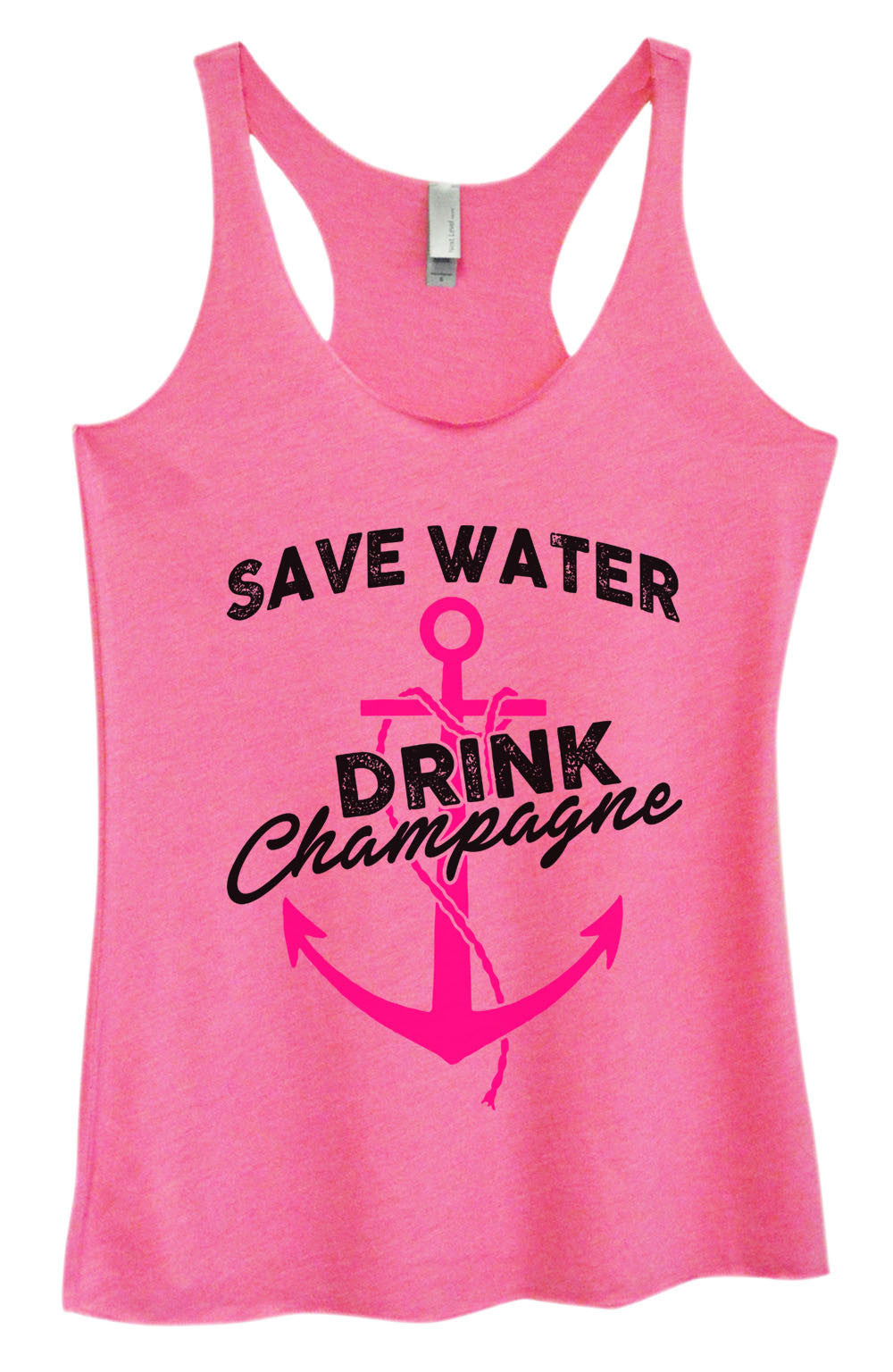 Womens Fashion Triblend Tank Top - Save Water Drink Champagne - Tri-1466 - Funny Shirts Tank Tops Burnouts and Triblends  - 3