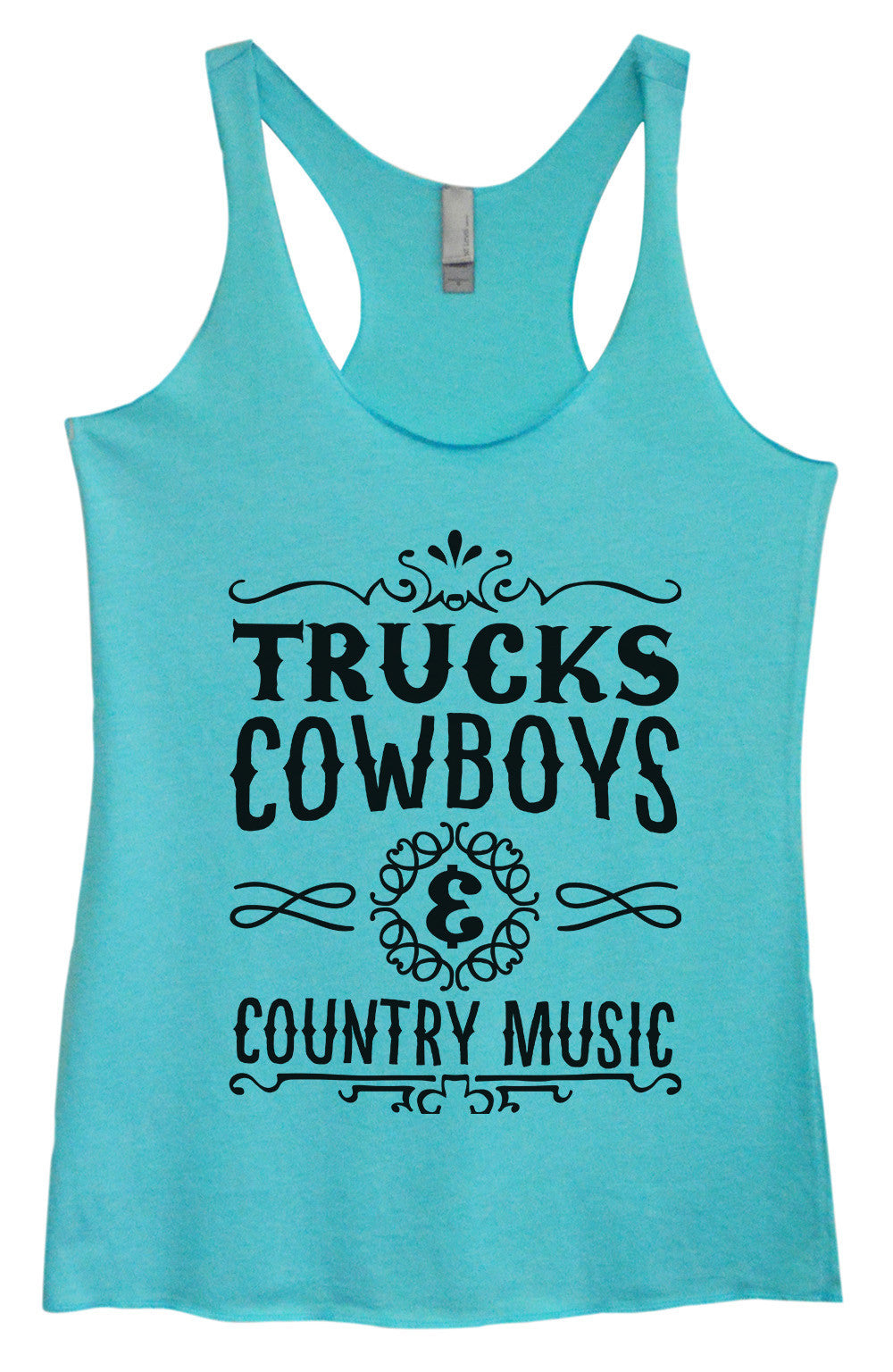5b13f89c44c8ee Womens Fashion Triblend Tank Top - Trucks Cowboys   Country Music -  Tri-1497 -