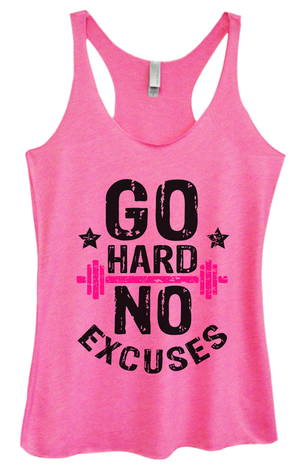Womens Fashion Triblend Tank Top - Go Hard No Excuses - Tri-1565 - Funny Shirts Tank Tops Burnouts and Triblends  - 4