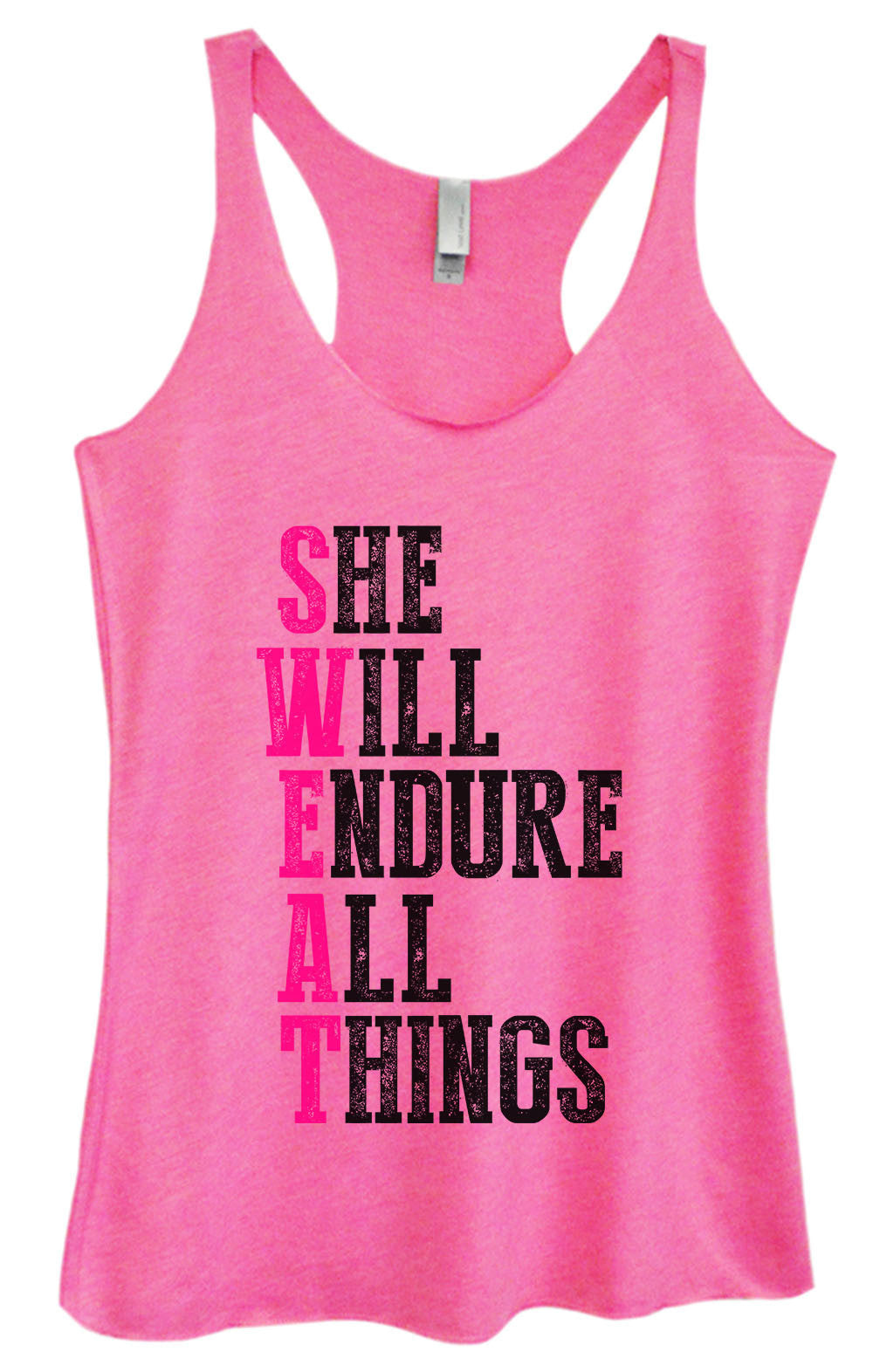 Womens Fashion Triblend Tank Top - She Will Endure All Things - Tri-1582 - Funny Shirts Tank Tops Burnouts and Triblends  - 4