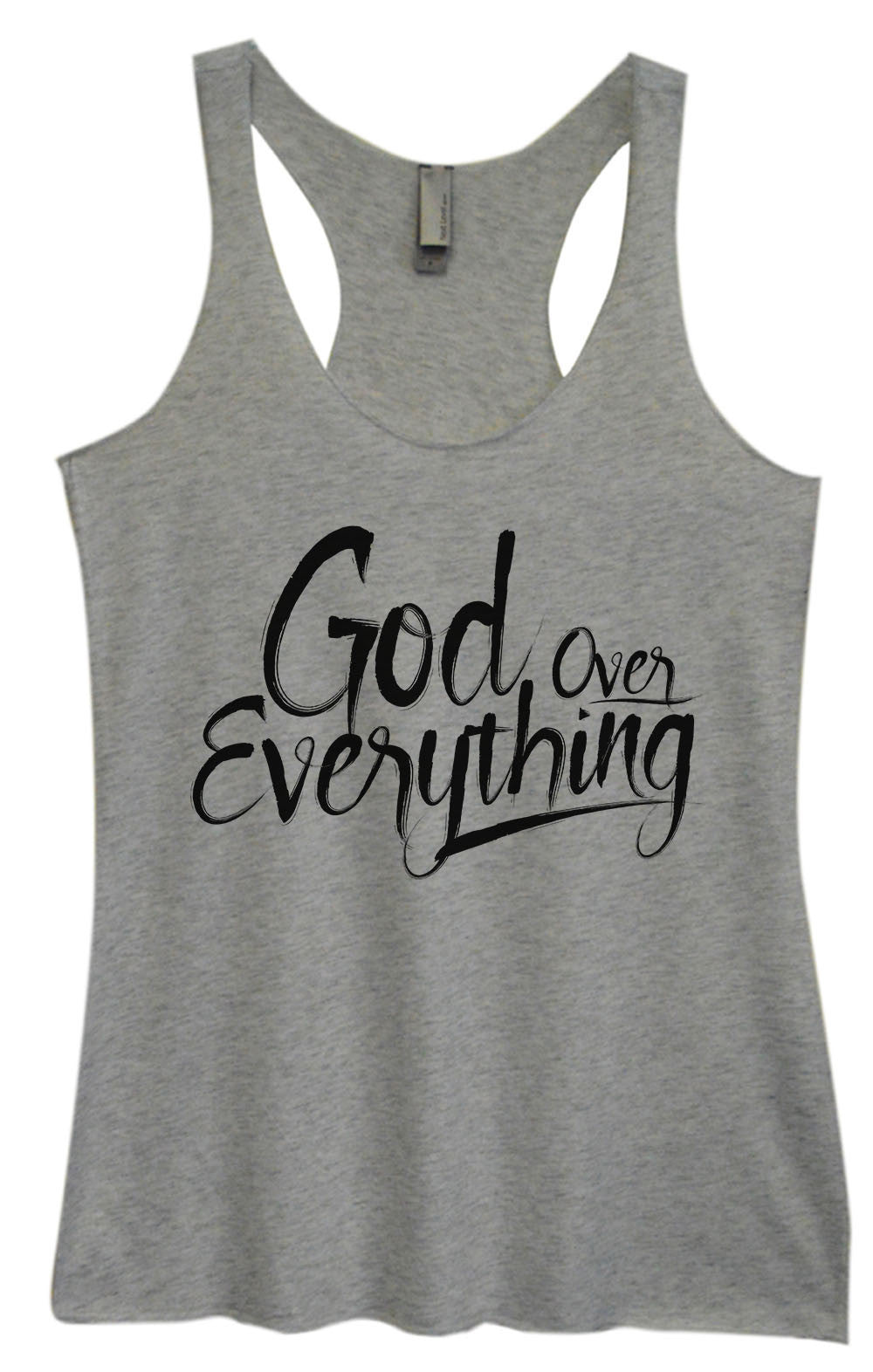 Womens Fashion Triblend Tank Top - God Everything Over - Tri-1588 - Funny Shirts Tank Tops Burnouts and Triblends  - 2