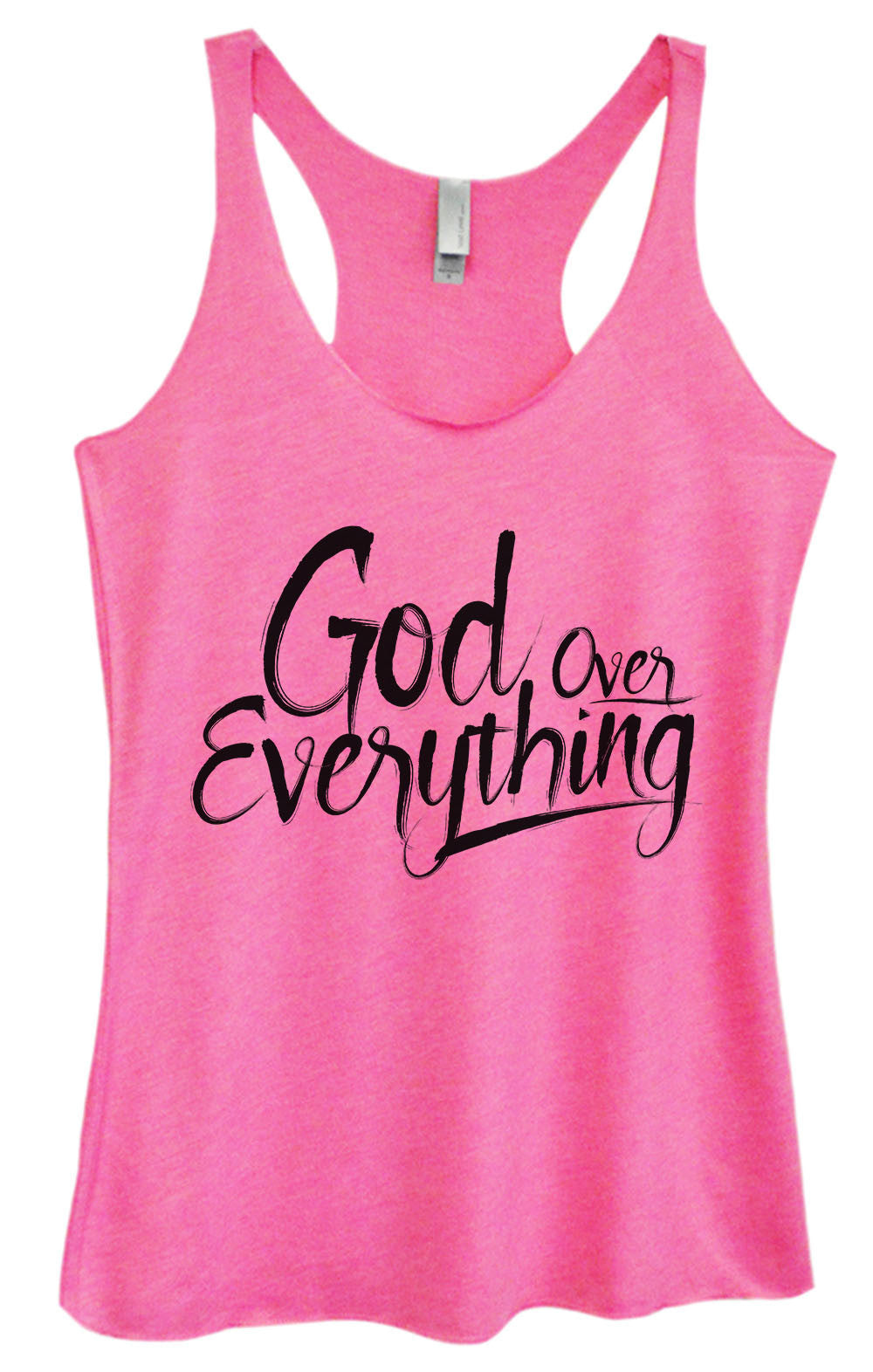 Womens Fashion Triblend Tank Top - God Everything Over - Tri-1588 - Funny Shirts Tank Tops Burnouts and Triblends  - 3