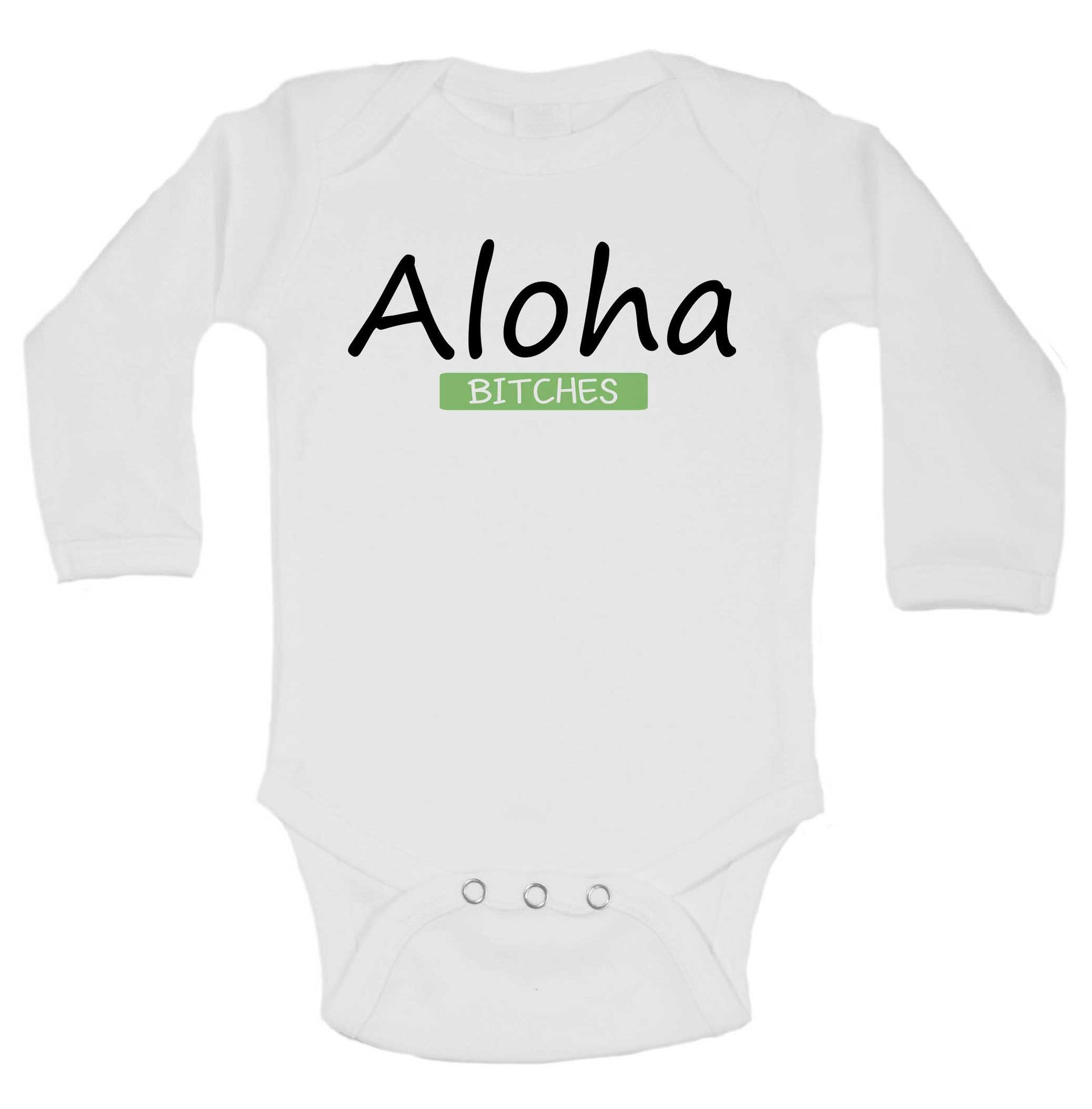 Aloha Bitches Funny Kids Onesie - 181 - Funny Shirts Tank Tops Burnouts and Triblends  - 1
