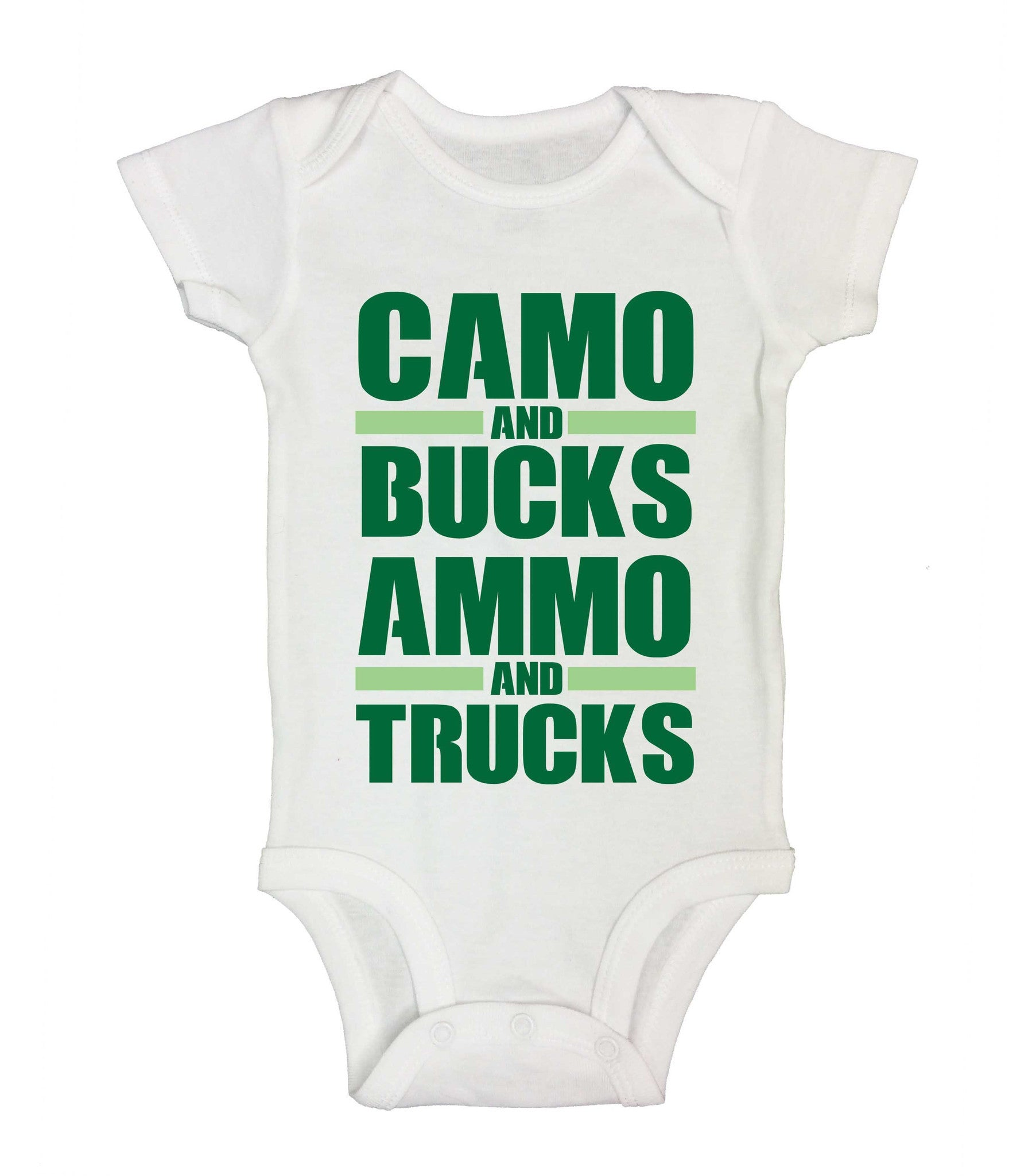 Camo And Bucks Ammo And Trucks Funny Kids Onesie - 230 - Funny Shirts Tank Tops Burnouts and Triblends  - 2