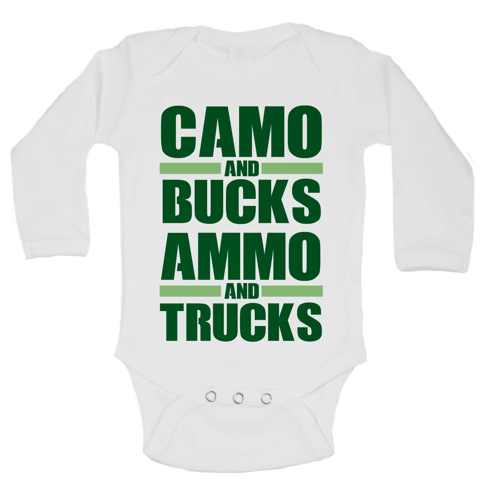 Camo And Bucks Ammo And Trucks Funny Kids Onesie - 230 - Funny Shirts Tank Tops Burnouts and Triblends  - 1