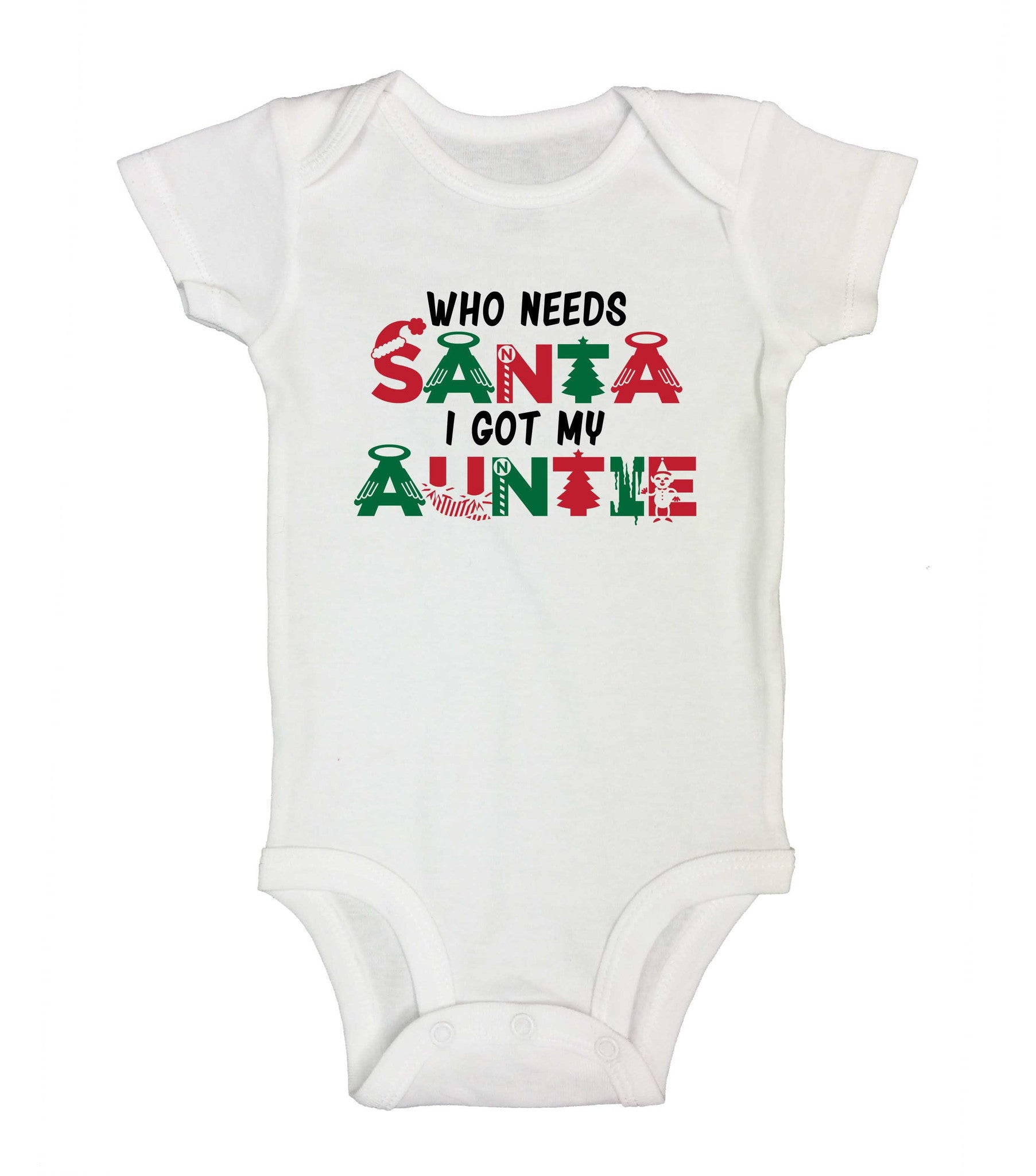 Who Needs Santa I Got My Auntie Funny Kids Onesie - 234 - Funny Shirts Tank Tops Burnouts and Triblends  - 2