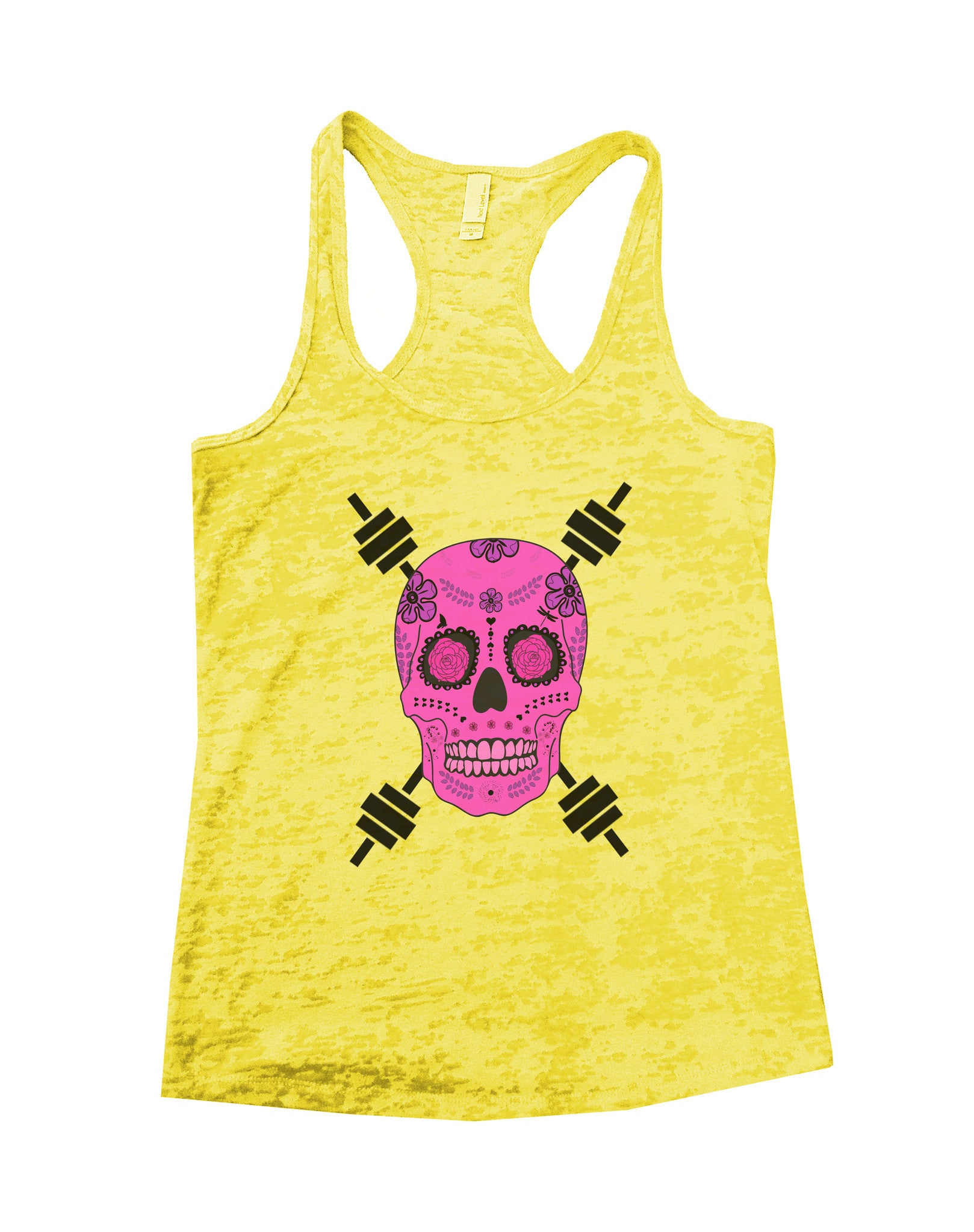 Skull And Weight Bars Burnout Tank Top By BurnoutTankTops.com - 500 - Funny Shirts Tank Tops Burnouts and Triblends  - 6