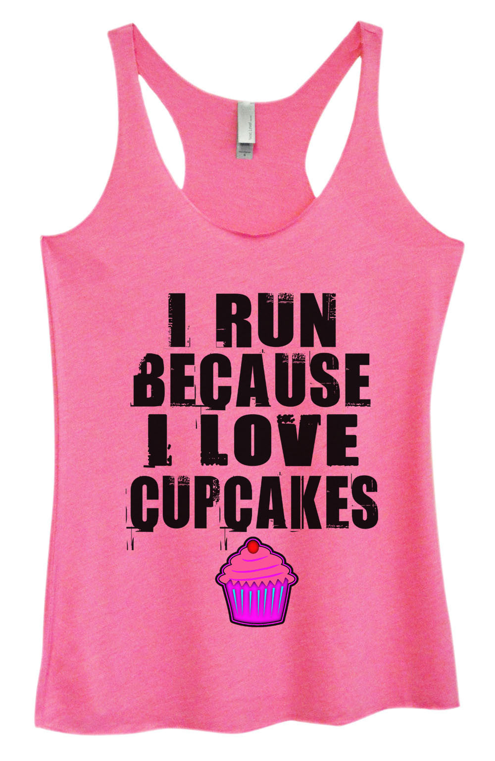 Womens Fashion Triblend Tank Top - I Run Because I Love Cupcakes - Tri-501 - Funny Shirts Tank Tops Burnouts and Triblends  - 4