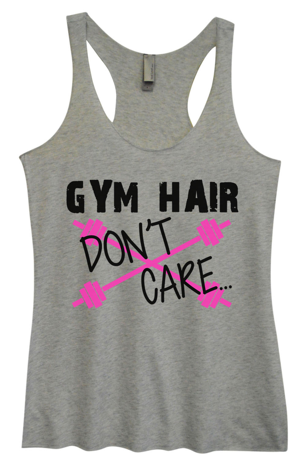 Womens Fashion Triblend Tank Top - Gym Hair Don't Care - Tri-511 - Funny Shirts Tank Tops Burnouts and Triblends  - 2