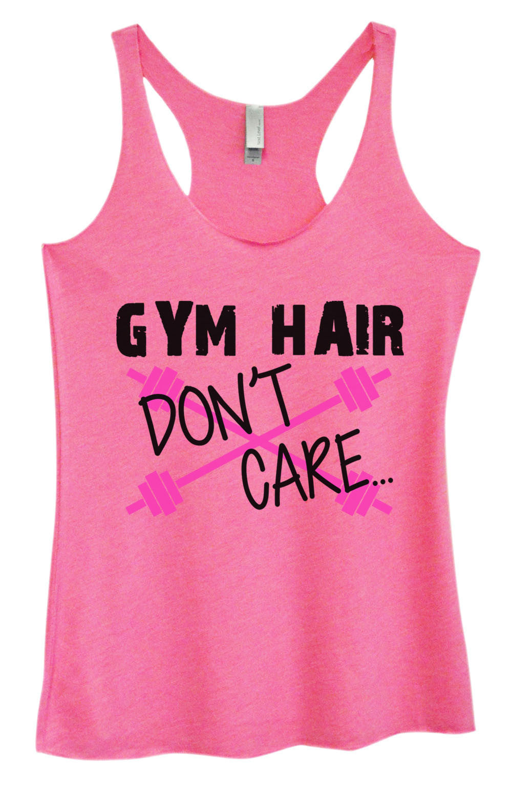 Womens Fashion Triblend Tank Top - Gym Hair Don't Care - Tri-511 - Funny Shirts Tank Tops Burnouts and Triblends  - 4