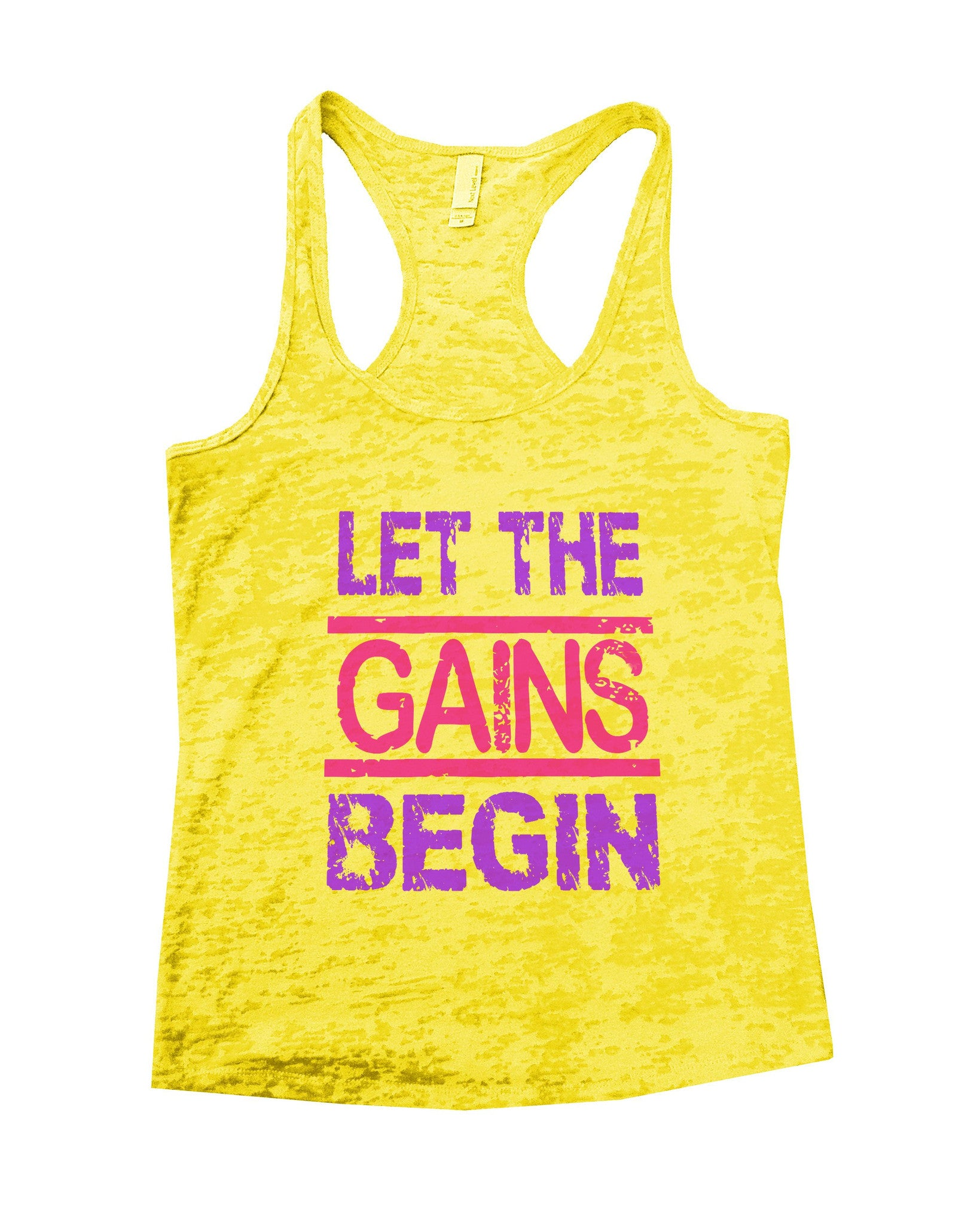 Let The Gains Begin Burnout Tank Top By BurnoutTankTops.com - 540 - Funny Shirts Tank Tops Burnouts and Triblends  - 6