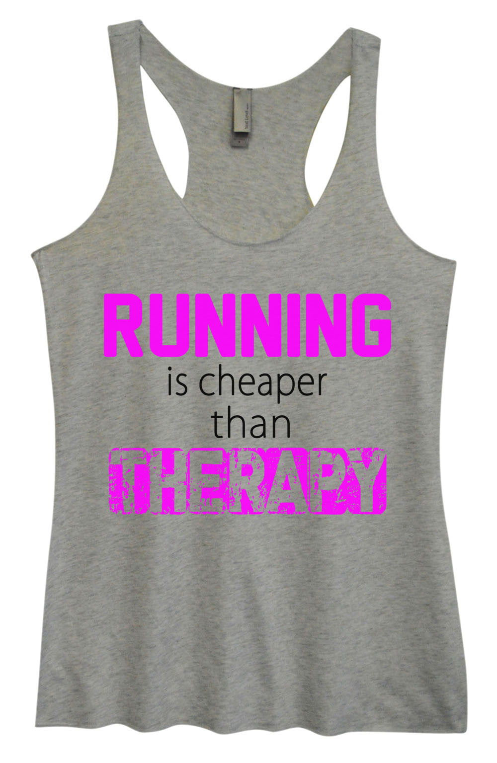 Womens Fashion Triblend Tank Top - Running Is Cheaper Than Therapy - Tri-574 - Funny Shirts Tank Tops Burnouts and Triblends  - 2