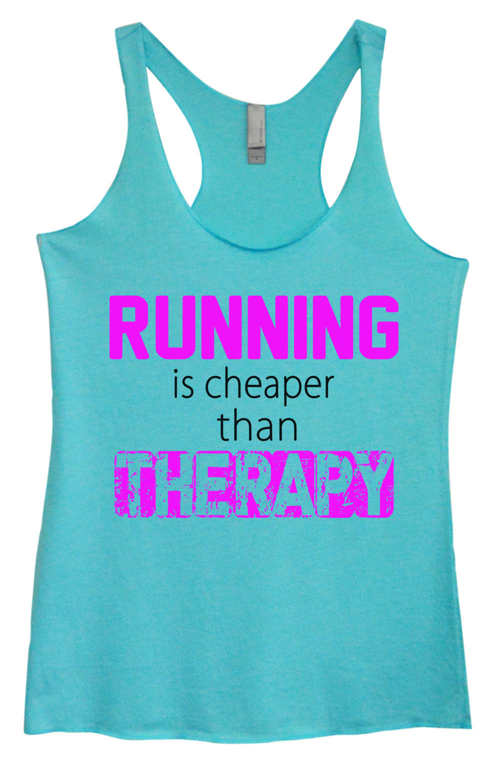 Womens Fashion Triblend Tank Top - Running Is Cheaper Than Therapy - Tri-574 - Funny Shirts Tank Tops Burnouts and Triblends  - 1
