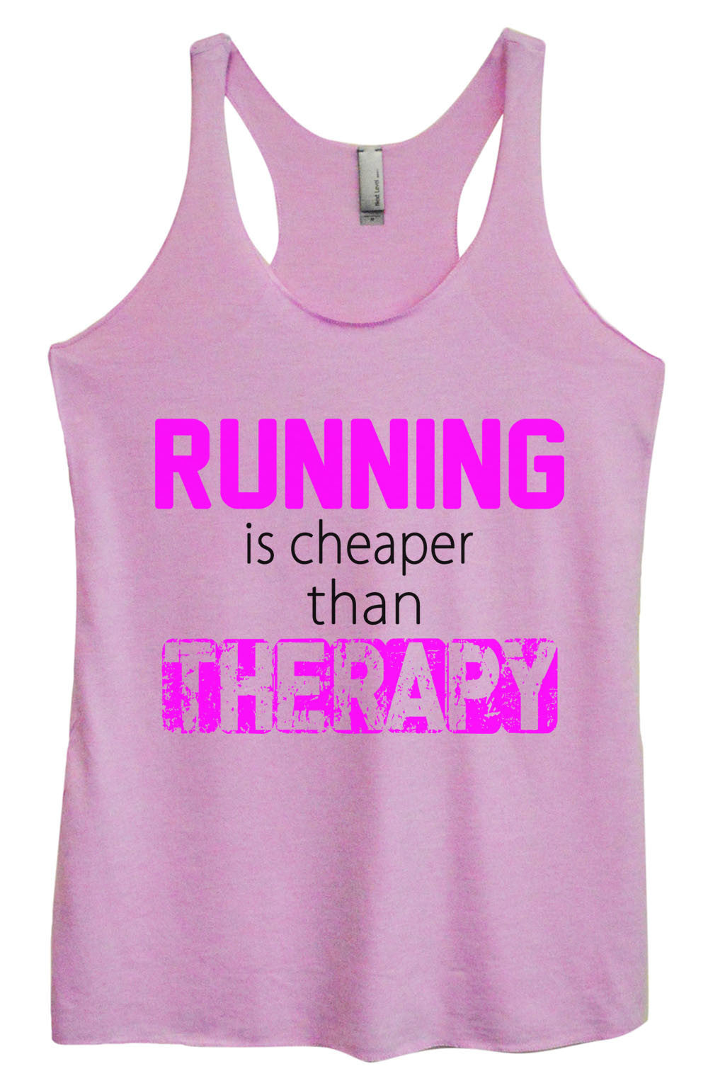 Womens Fashion Triblend Tank Top - Running Is Cheaper Than Therapy - Tri-574 - Funny Shirts Tank Tops Burnouts and Triblends  - 4