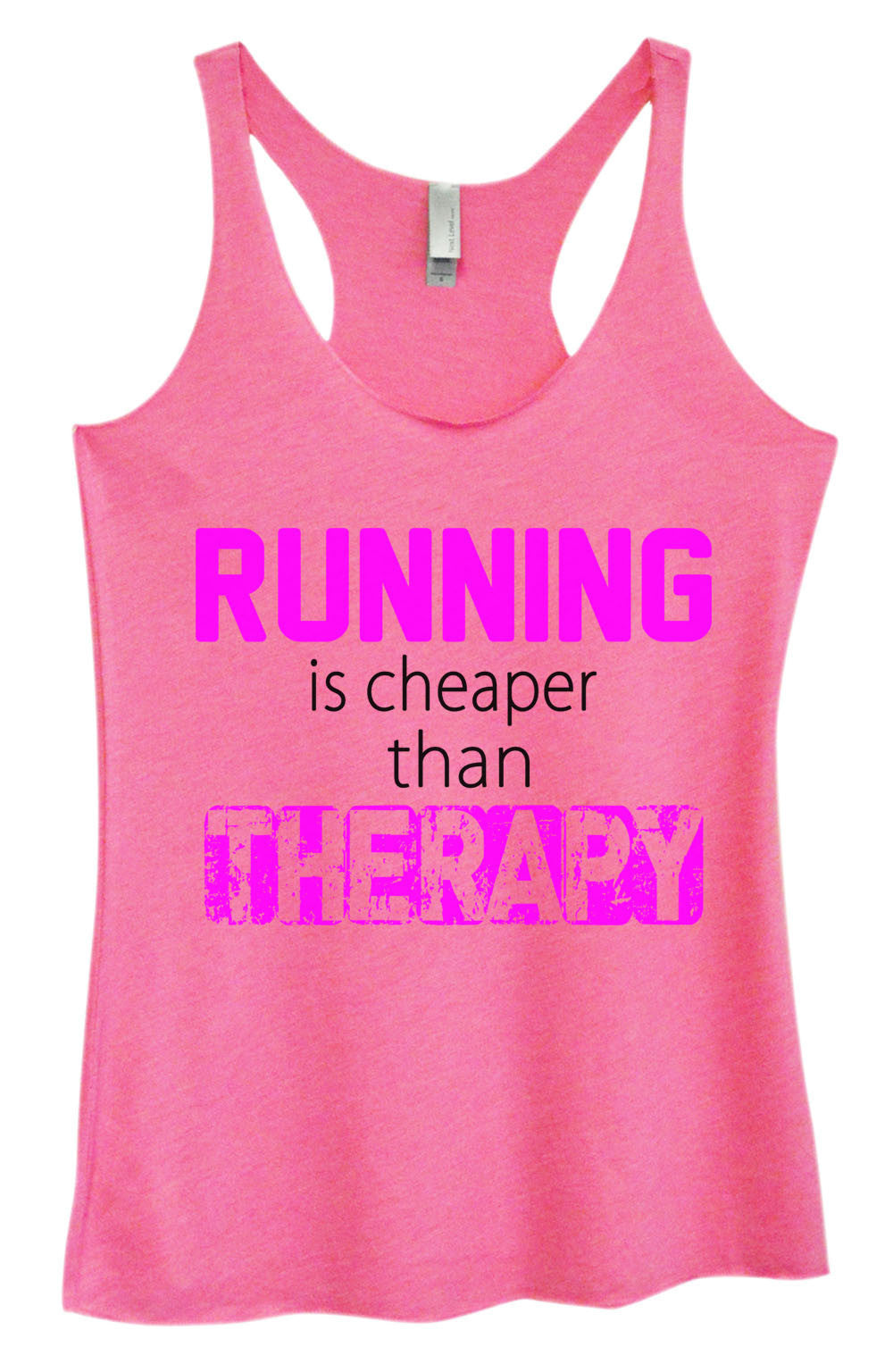Womens Fashion Triblend Tank Top - Running Is Cheaper Than Therapy - Tri-574 - Funny Shirts Tank Tops Burnouts and Triblends  - 3