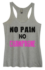 Womens Fashion Triblend Tank Top - No Pain No Champagne - Tri-583 - Funny Shirts Tank Tops Burnouts and Triblends  - 2