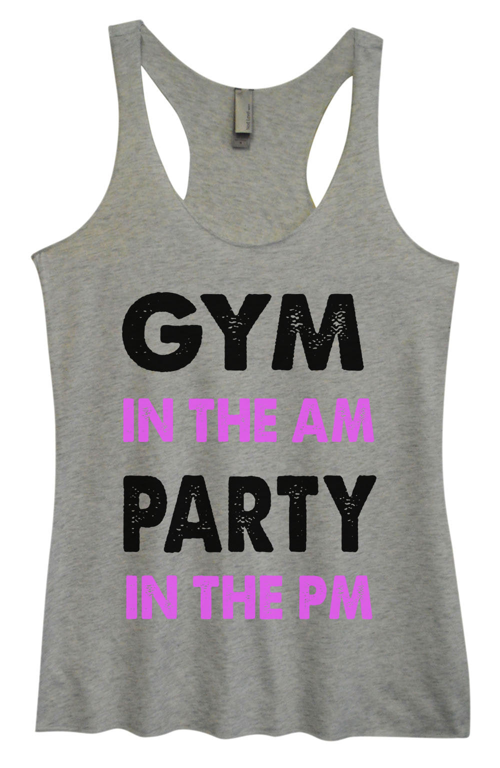 Womens Fashion Triblend Tank Top - Gym In The Am Party In The PM - Tri-586 - Funny Shirts Tank Tops Burnouts and Triblends  - 2