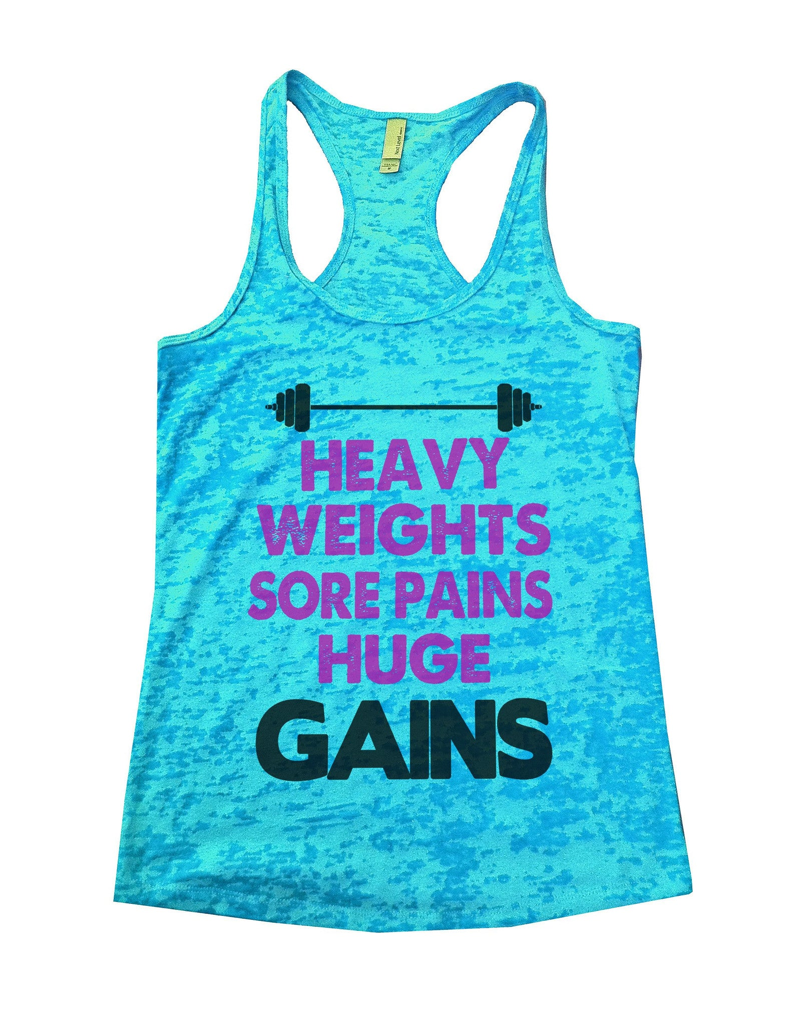 Heavy Weights Sore Pains Huge Gains Burnout Tank Top By BurnoutTankTops.com - 620 - Funny Shirts Tank Tops Burnouts and Triblends  - 3