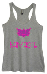 Womens Fashion Triblend Tank Top - Namaste - Tri-631 - Funny Shirts Tank Tops Burnouts and Triblends  - 2