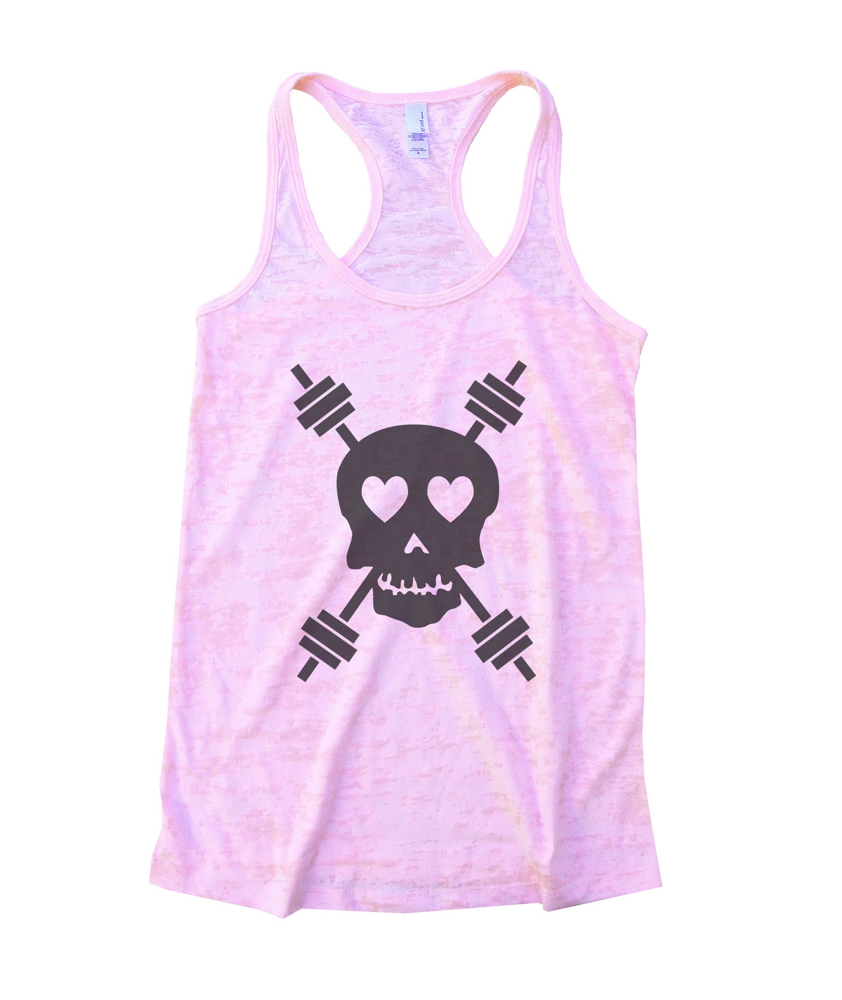 Skull And Weight Bars Burnout Tank Top By BurnoutTankTops.com - 653 - Funny Shirts Tank Tops Burnouts and Triblends  - 2