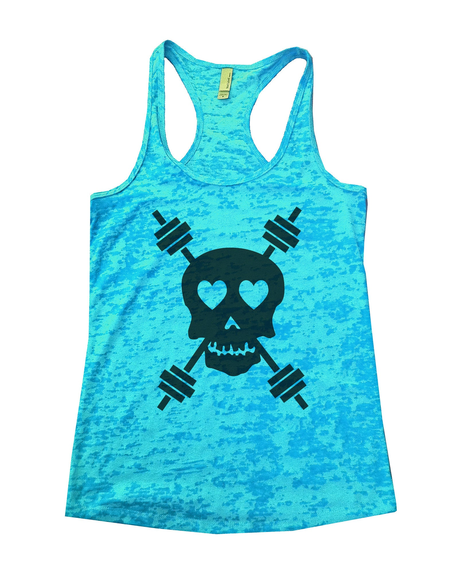 Skull And Weight Bars Burnout Tank Top By BurnoutTankTops.com - 653 - Funny Shirts Tank Tops Burnouts and Triblends  - 4