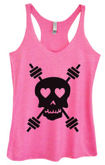 Womens Fashion Triblend Tank Top - Skull - Tri-653 - Funny Shirts Tank Tops Burnouts and Triblends  - 4