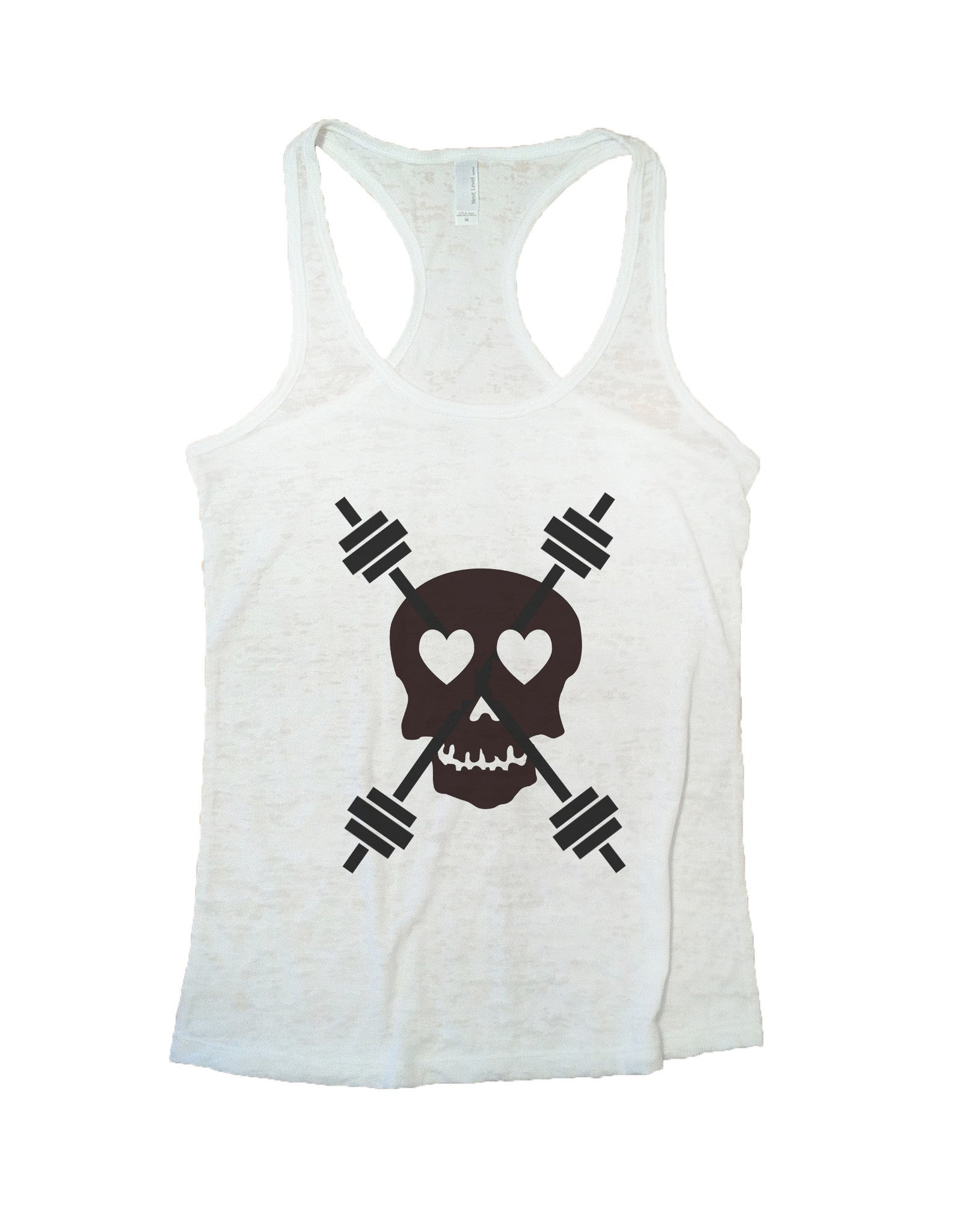 Skull And Weight Bars Burnout Tank Top By BurnoutTankTops.com - 653 - Funny Shirts Tank Tops Burnouts and Triblends  - 5