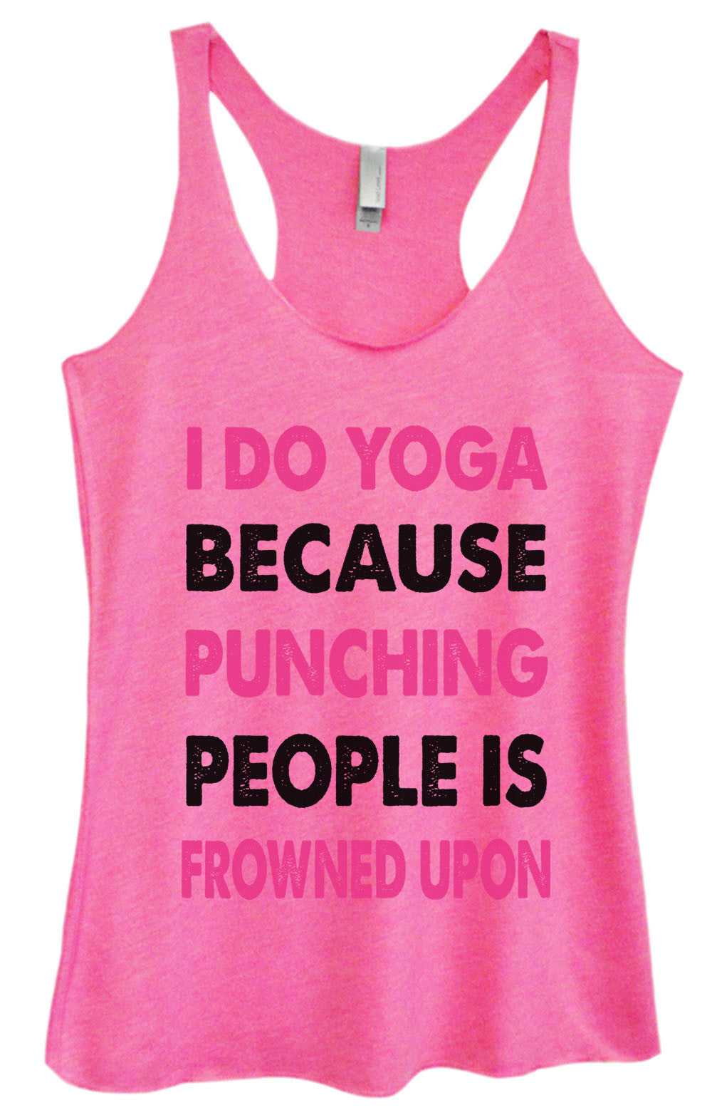 Womens Fashion Triblend Tank Top - I Do Yoga Because Punching People Is Frowned Upon - Tri-685 - Funny Shirts Tank Tops Burnouts and Triblends  - 1