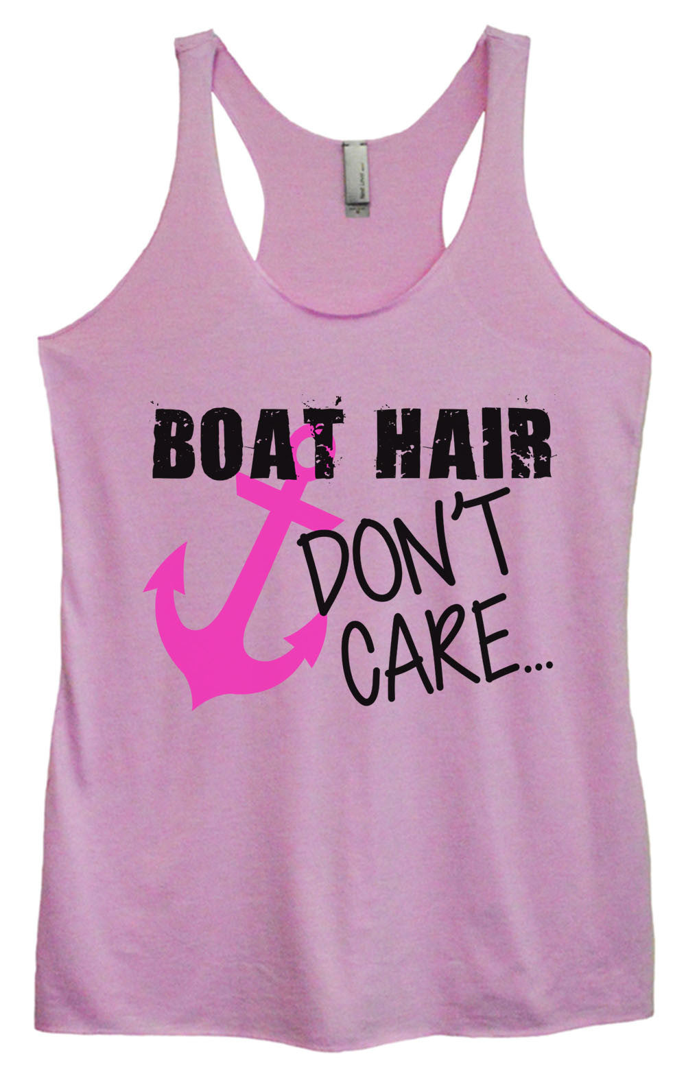 Womens Fashion Triblend Tank Top - Boat Hair Don't Care - Tri-691 - Funny Shirts Tank Tops Burnouts and Triblends  - 3