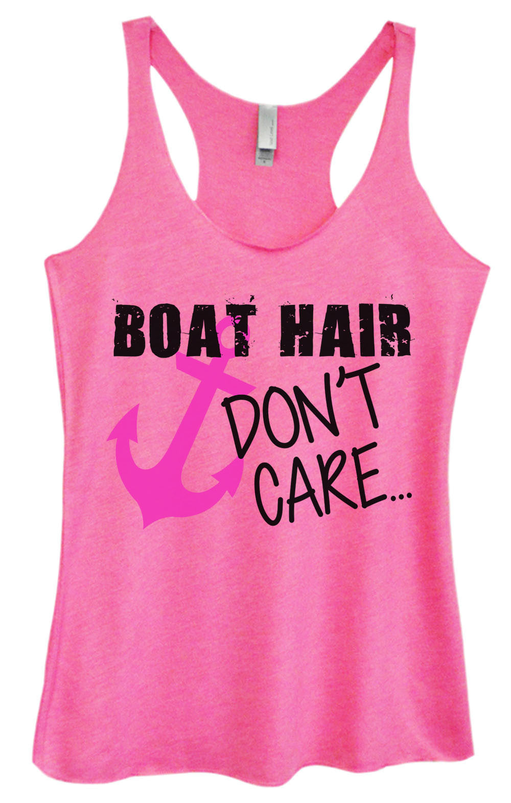 Womens Fashion Triblend Tank Top - Boat Hair Don't Care - Tri-691 - Funny Shirts Tank Tops Burnouts and Triblends  - 4