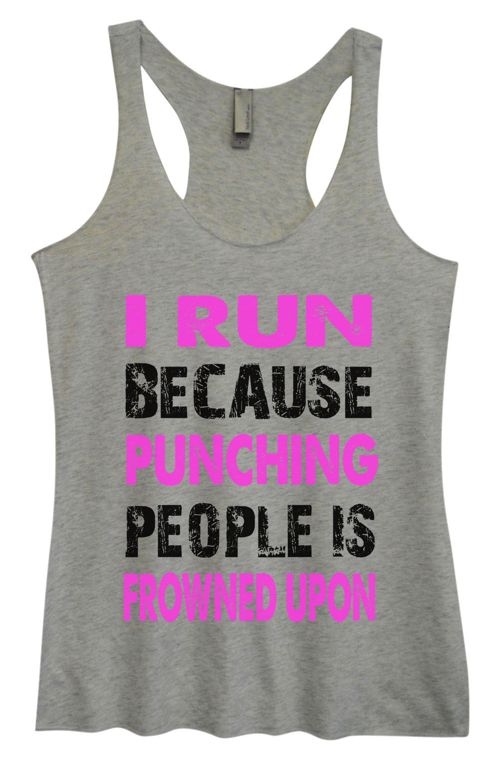 Womens Fashion Triblend Tank Top - I Run Because Punching People Is Frowned Upon - Tri-708 - Funny Shirts Tank Tops Burnouts and Triblends  - 2