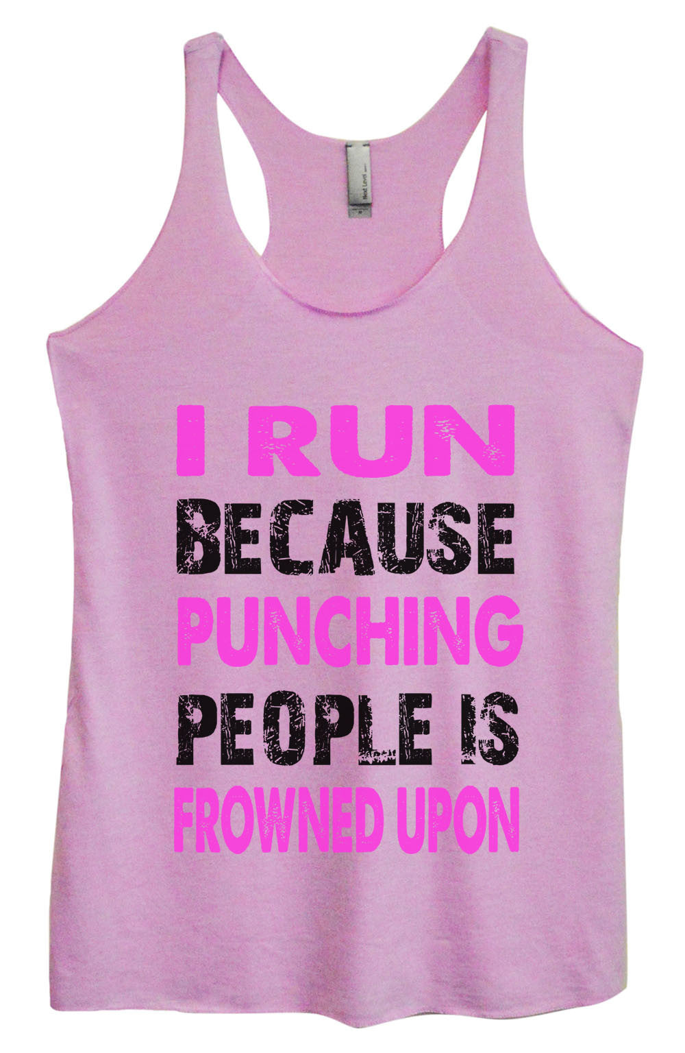 Womens Fashion Triblend Tank Top - I Run Because Punching People Is Frowned Upon - Tri-708 - Funny Shirts Tank Tops Burnouts and Triblends  - 4