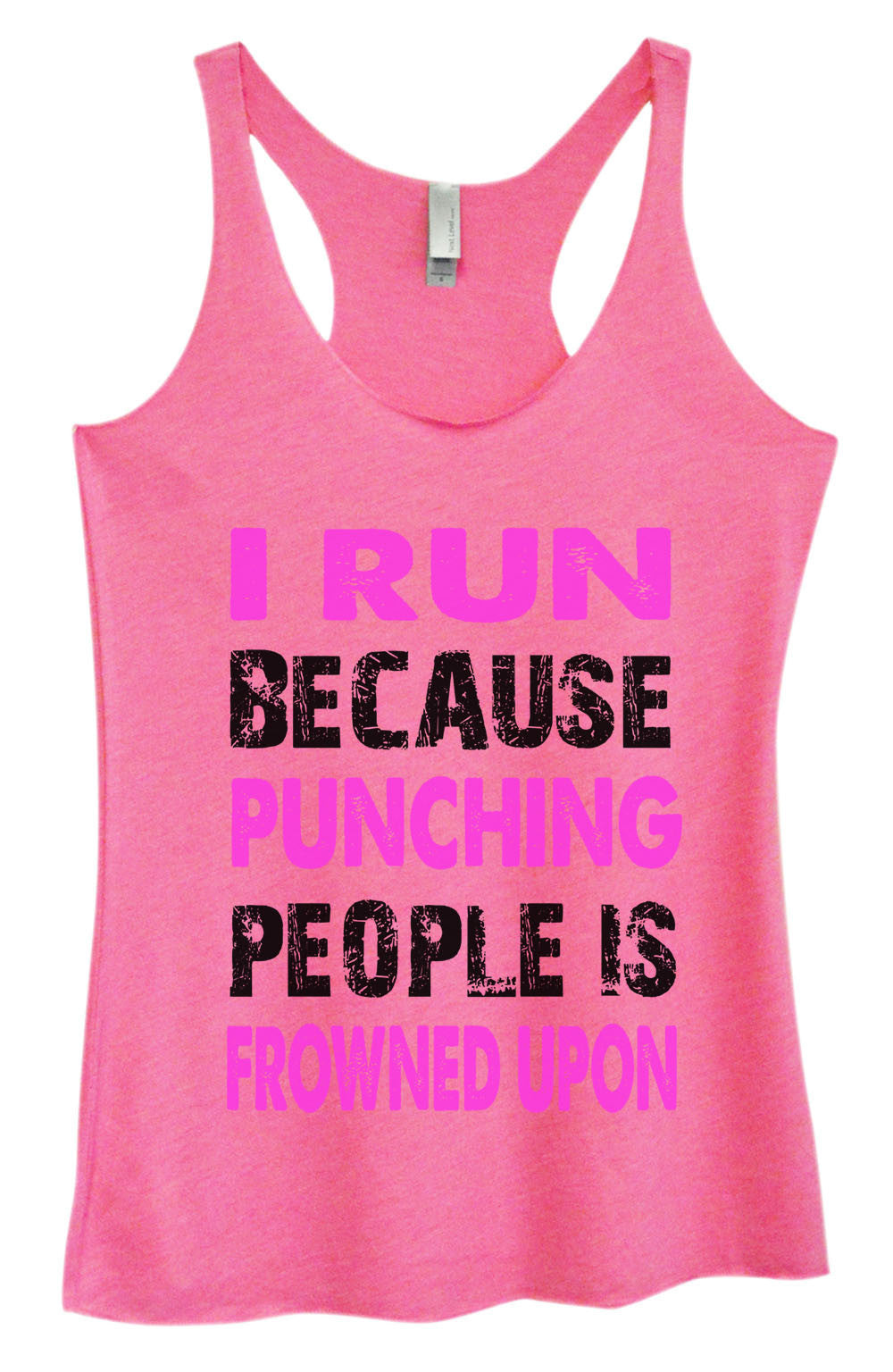 Womens Fashion Triblend Tank Top - I Run Because Punching People Is Frowned Upon - Tri-708 - Funny Shirts Tank Tops Burnouts and Triblends  - 3