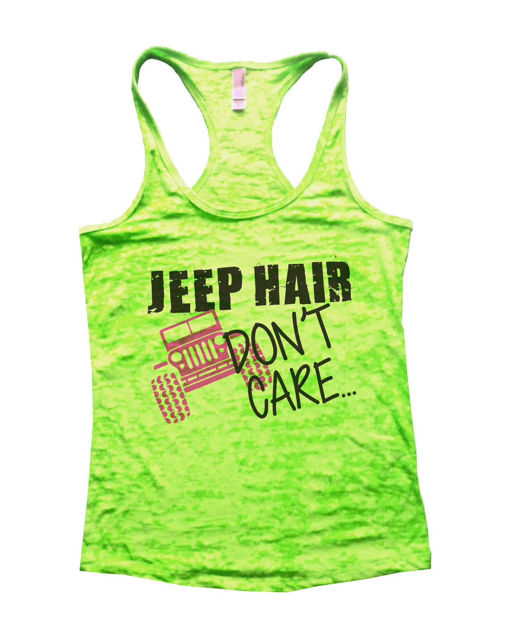 Jeep Hair Dont Care Jeep Lovers Tank Burnout Tank Top by BurnoutTankTops.com - 729 - Funny Shirts Tank Tops Burnouts and Triblends  - 2