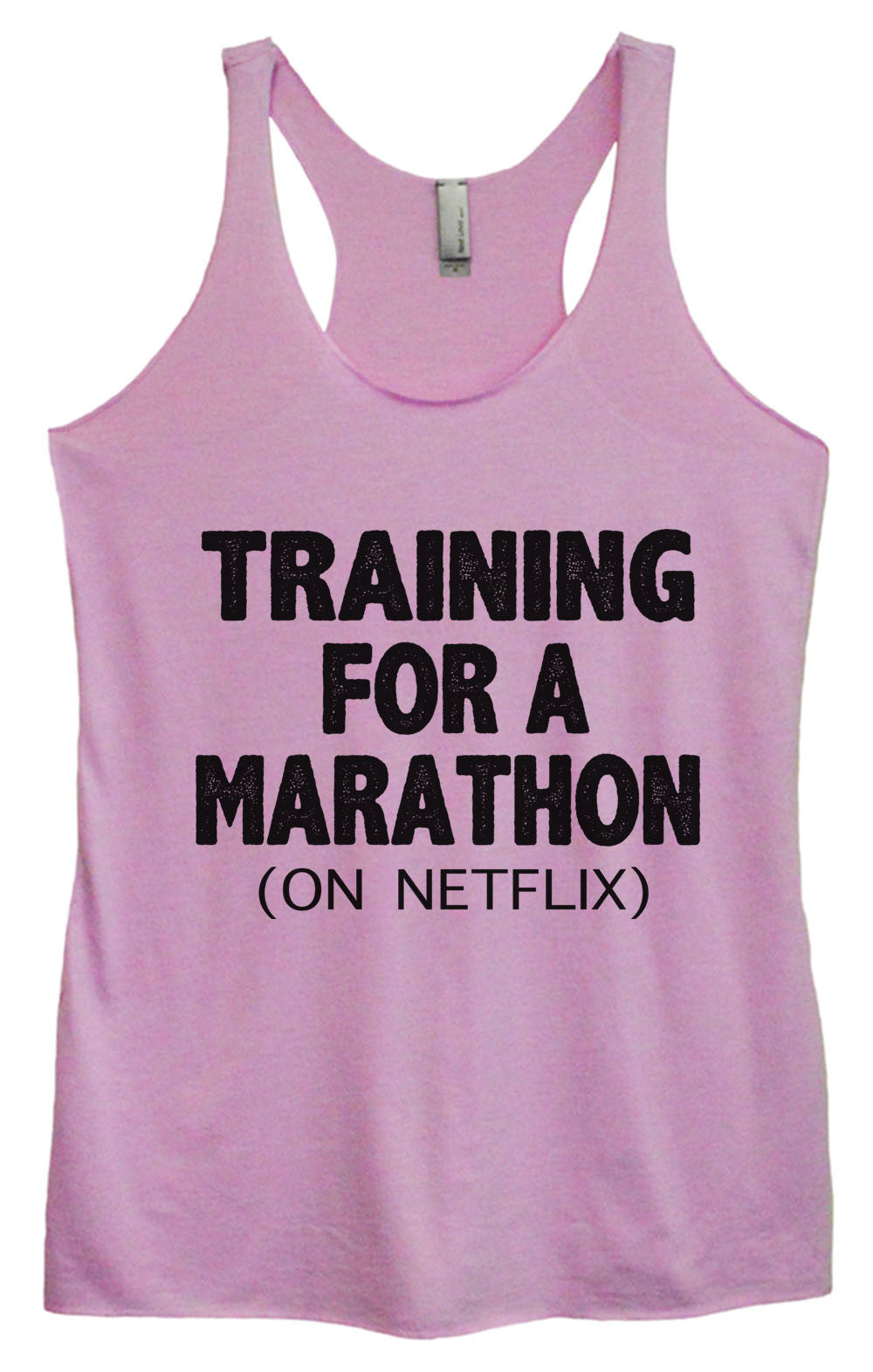 Womens Fashion Triblend Tank Top - Training For A Marathon (On Netflix) - Tri-741 - Funny Shirts Tank Tops Burnouts and Triblends  - 3