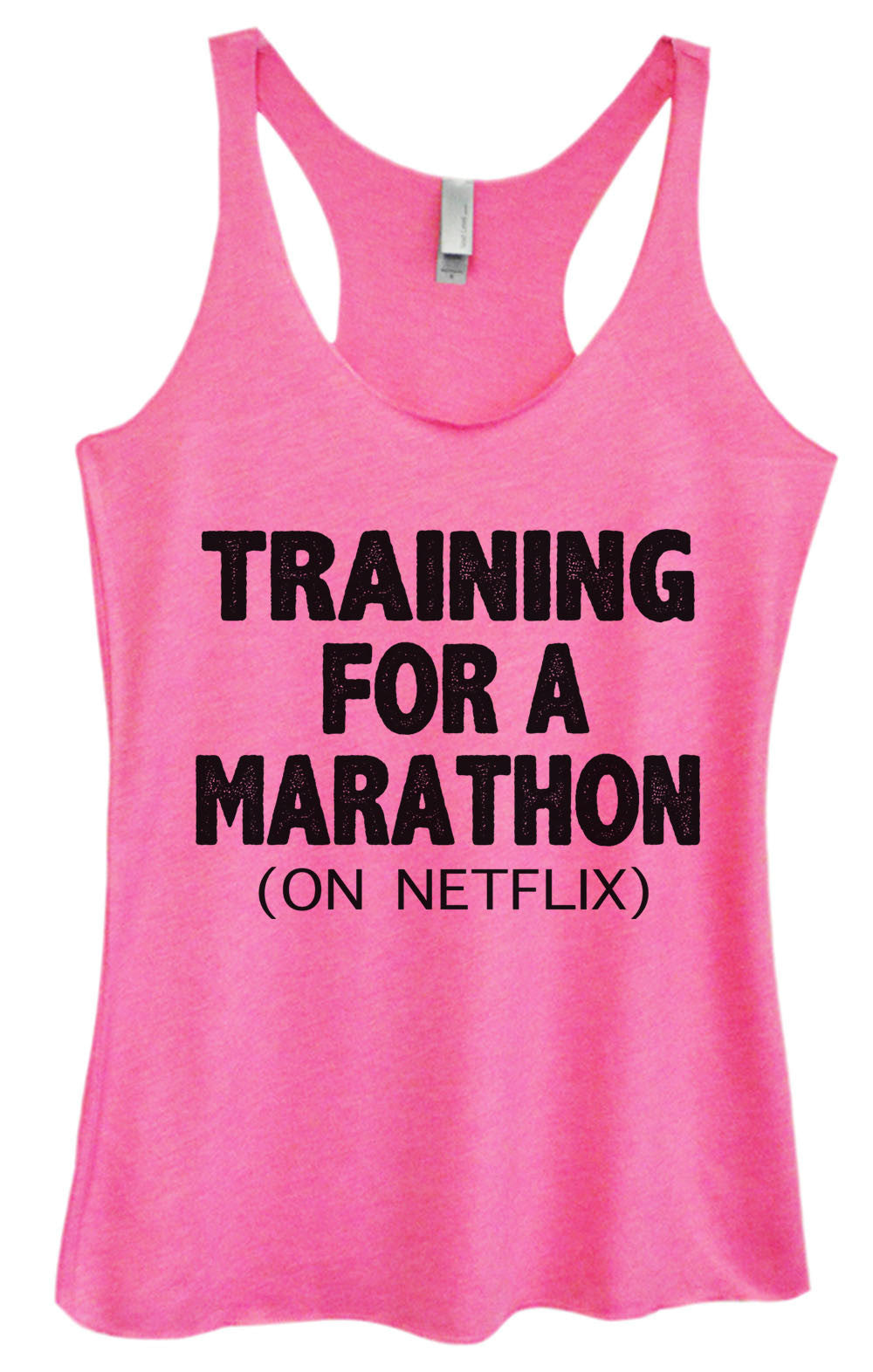 Womens Fashion Triblend Tank Top - Training For A Marathon (On Netflix) - Tri-741 - Funny Shirts Tank Tops Burnouts and Triblends  - 4