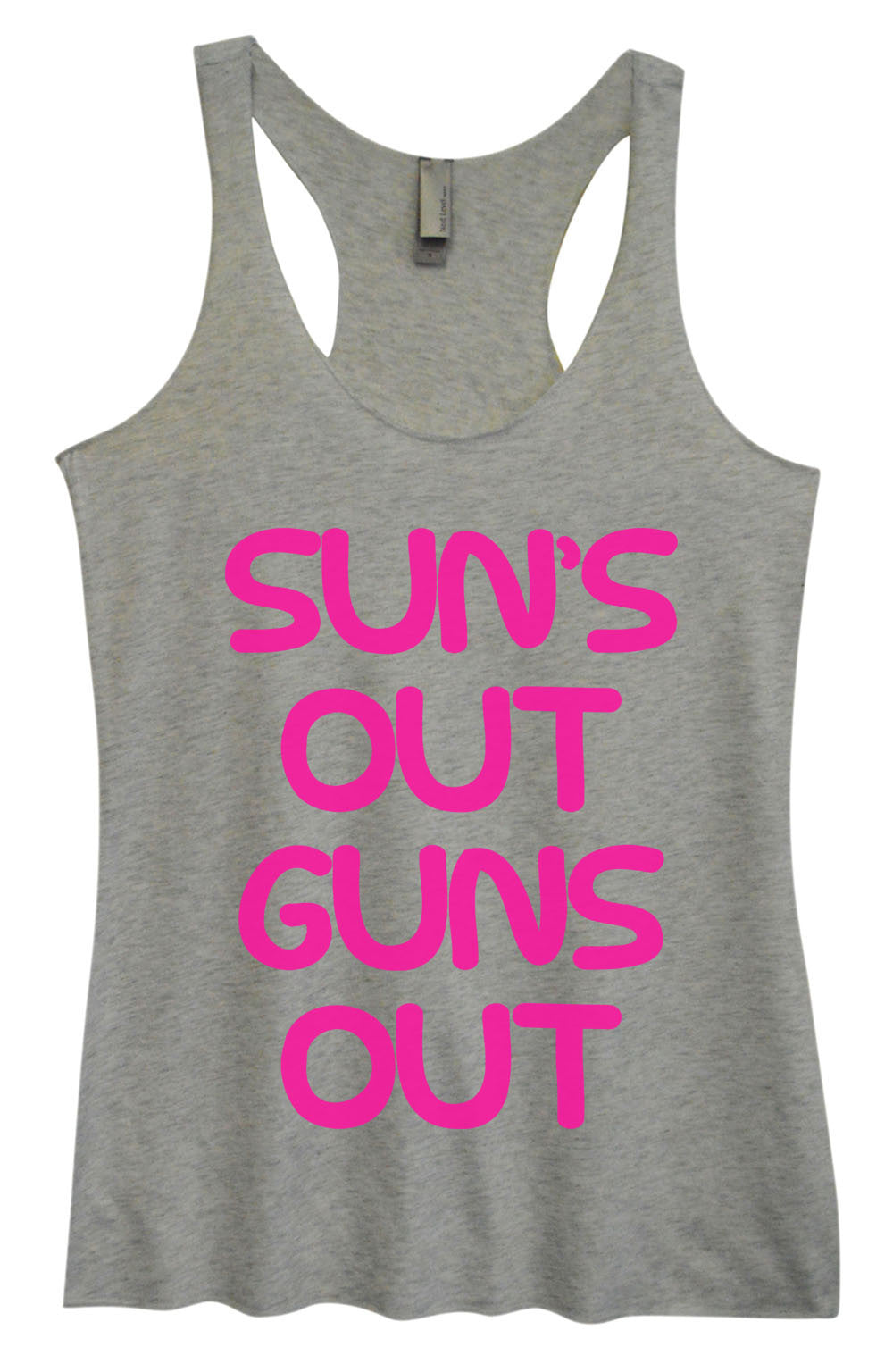 Womens Fashion Triblend Tank Top - Sun's Out Guns Out - Tri-743 - Funny Shirts Tank Tops Burnouts and Triblends  - 2